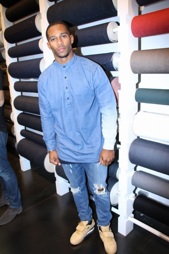 Victor Cruz Debuts Collab With 3X1 Denim In NYC.