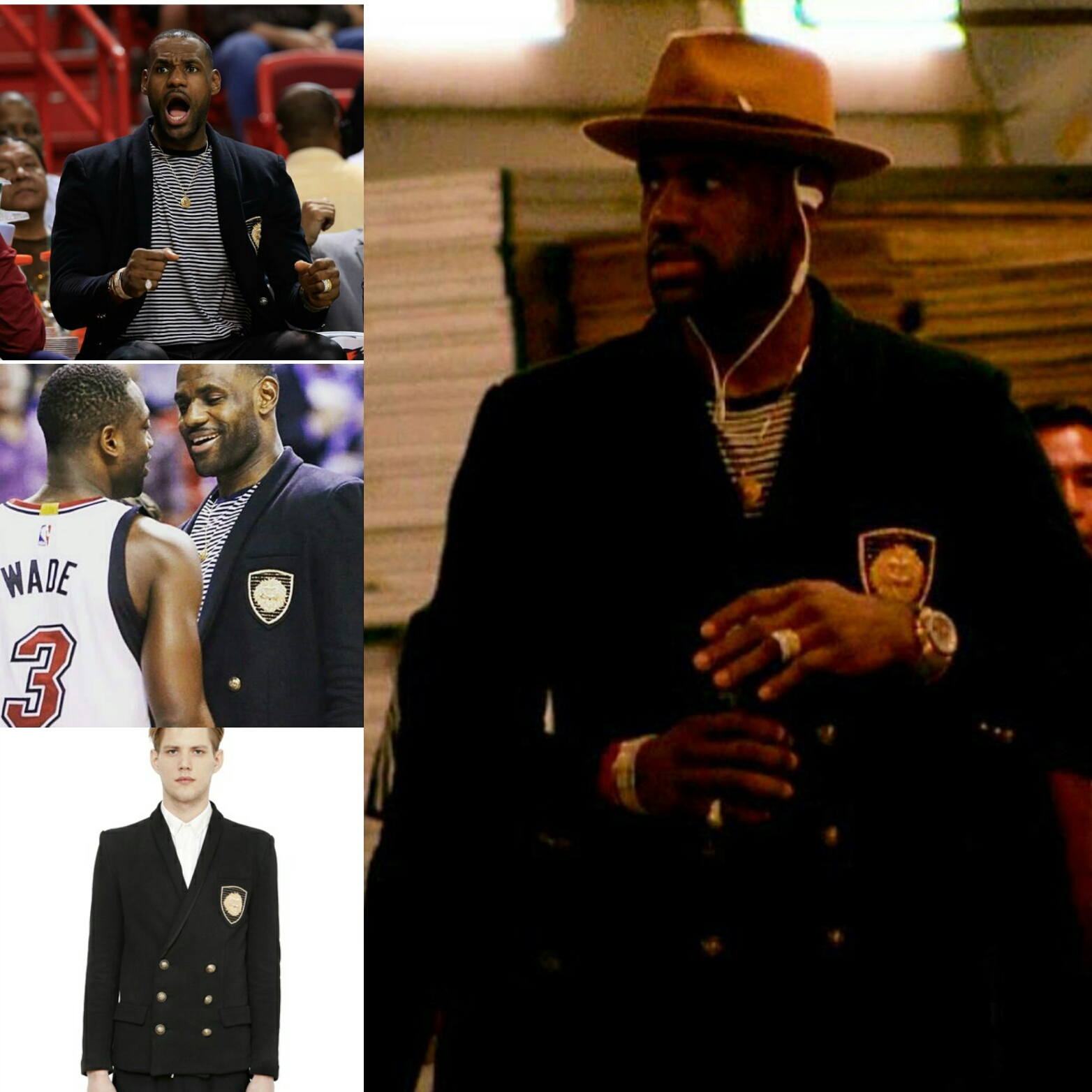 STYLE: Lebron James Visits Miami Wearing Balmain Embroidered Double-Breasted Sweatshirt Jacket