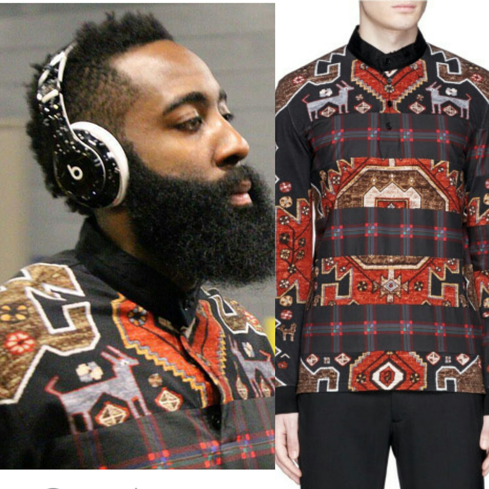 STYLE: James Harden's Givenchy Persian And Plaid Shirt