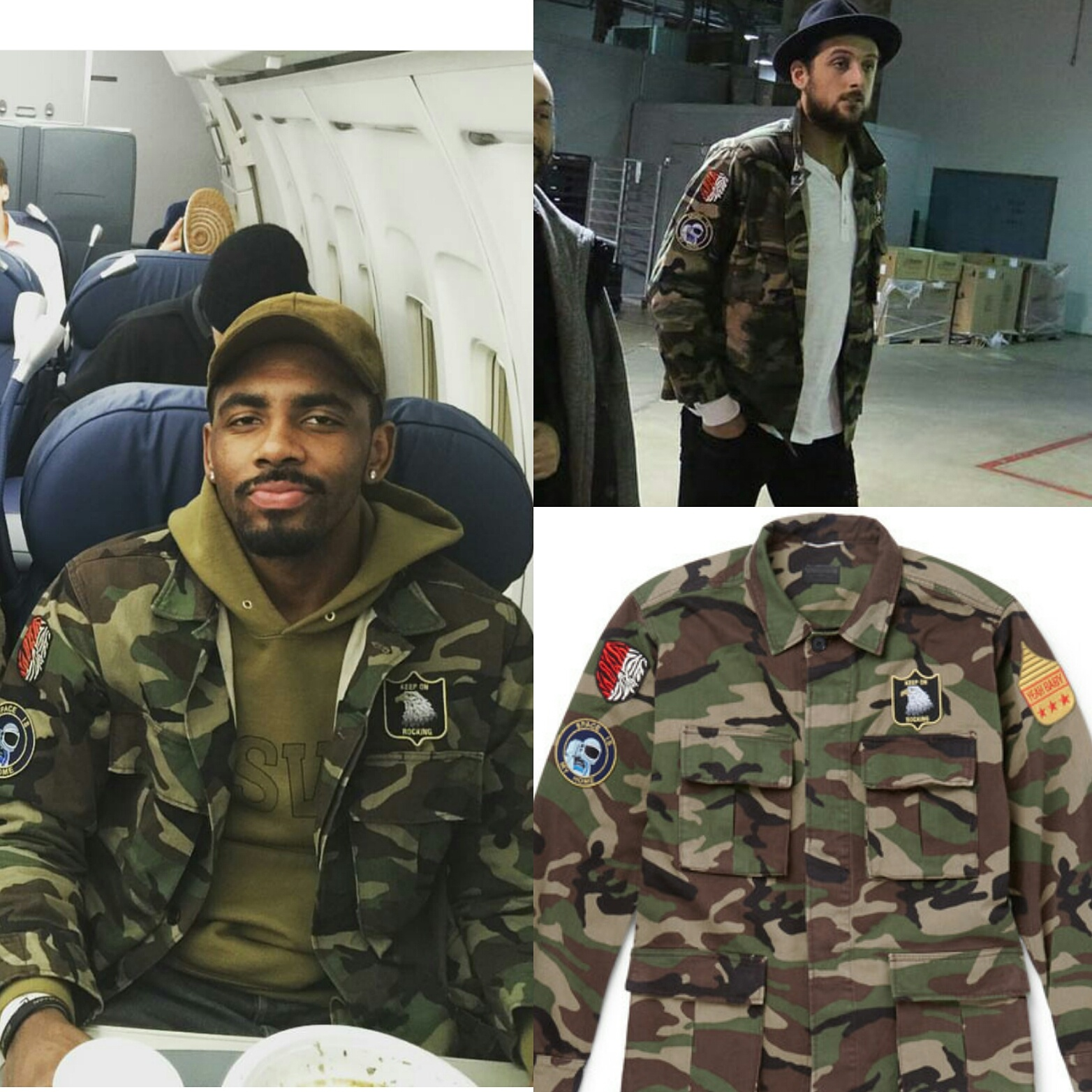 NBA Kyrie Irving, Marco Belinelli Wear Saint Laurent Camouflage-Print Field Jacket