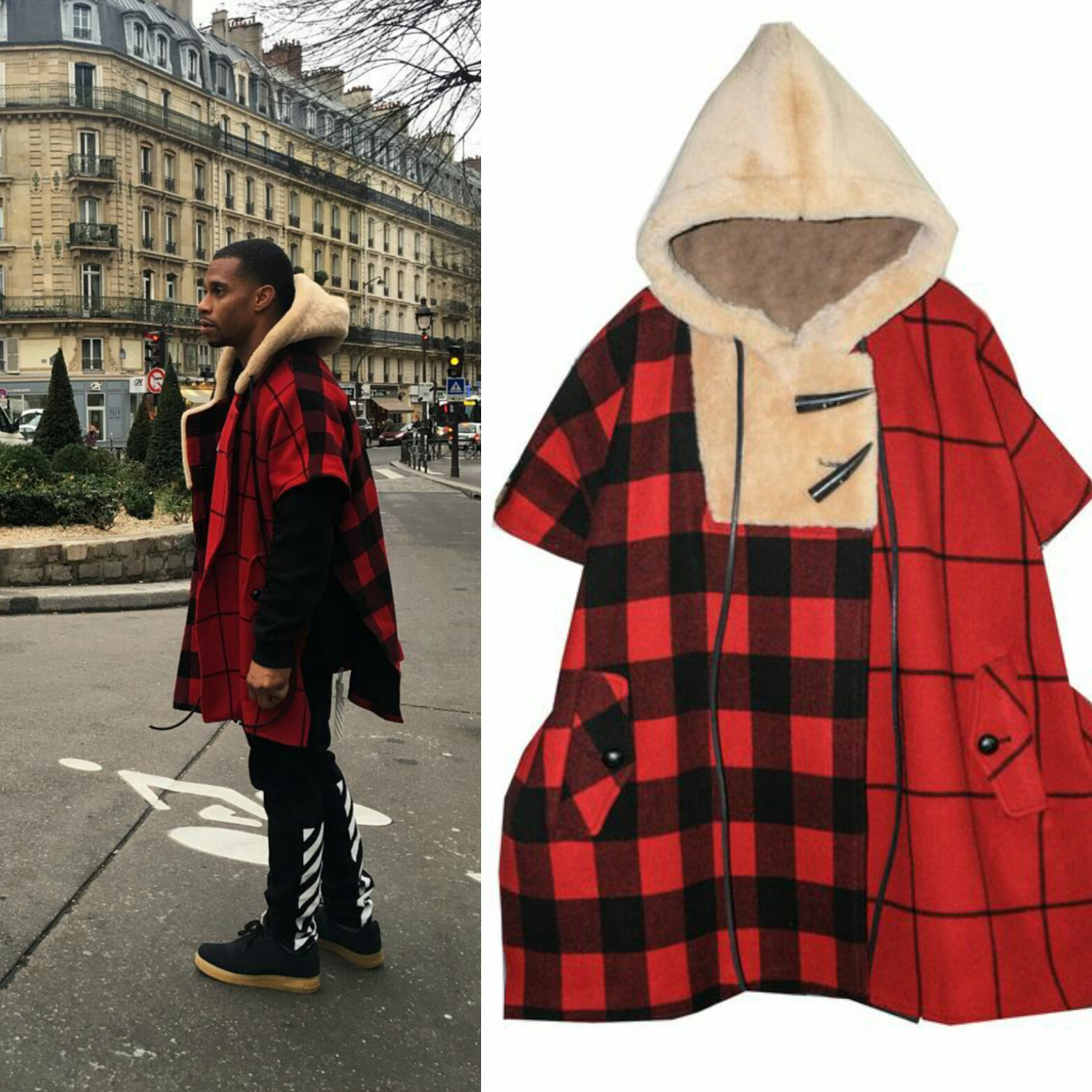 STYLE: Victor Cruz's Paris Fashion Week Romeo Hunte Cashmere Wool Shawl With Shearling Hood
