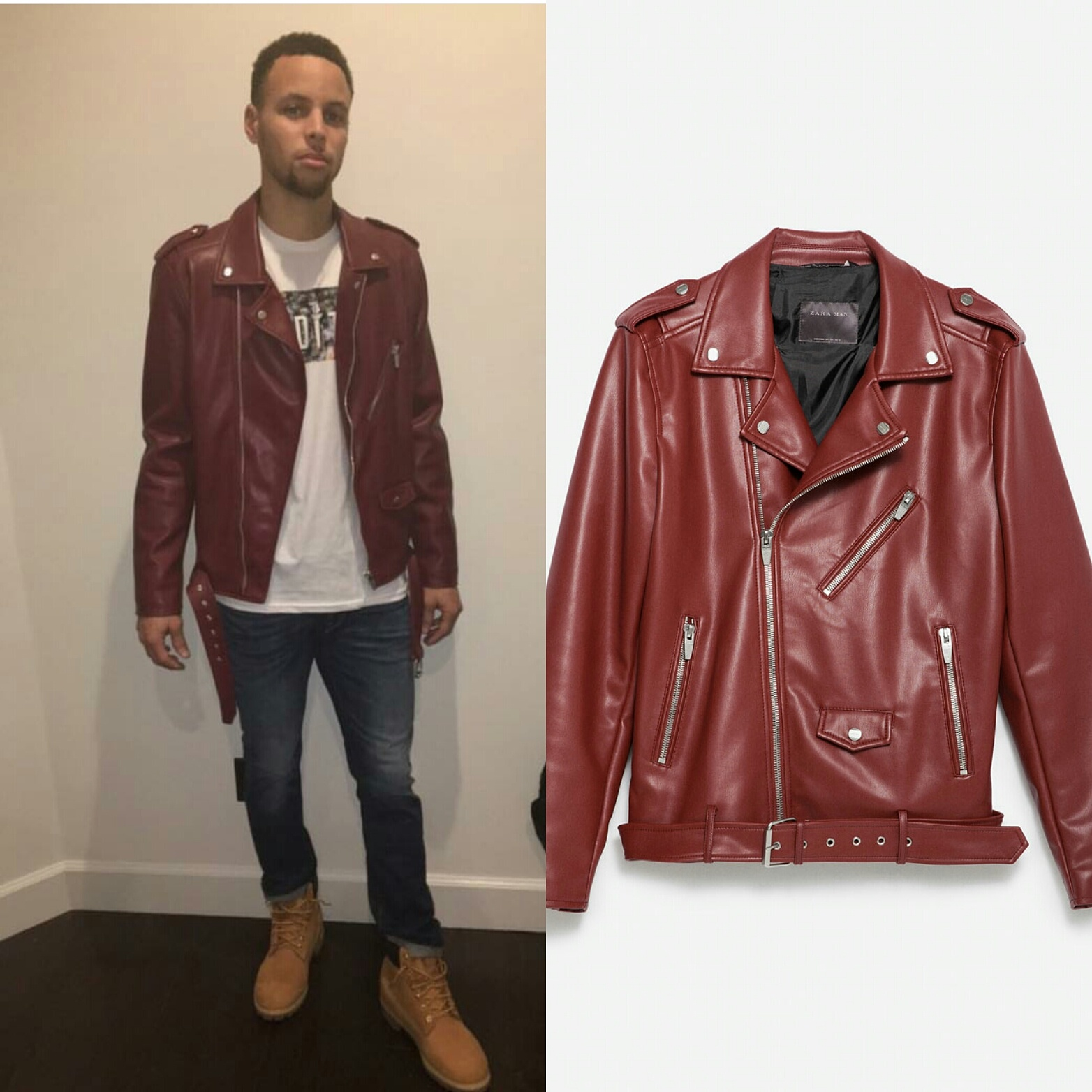 3f070de6 STYLE: Stephen Curry's Instagram Zara Biker Jacket - Athlete Fashion ...