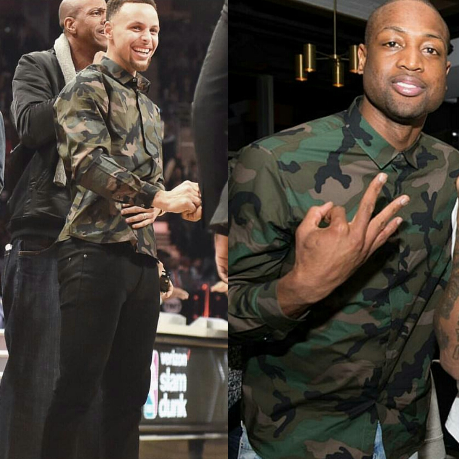 STYLE: Stephen Curry VS Dwyane Wade In Valentino Camouflage Poplin Dress Shirt