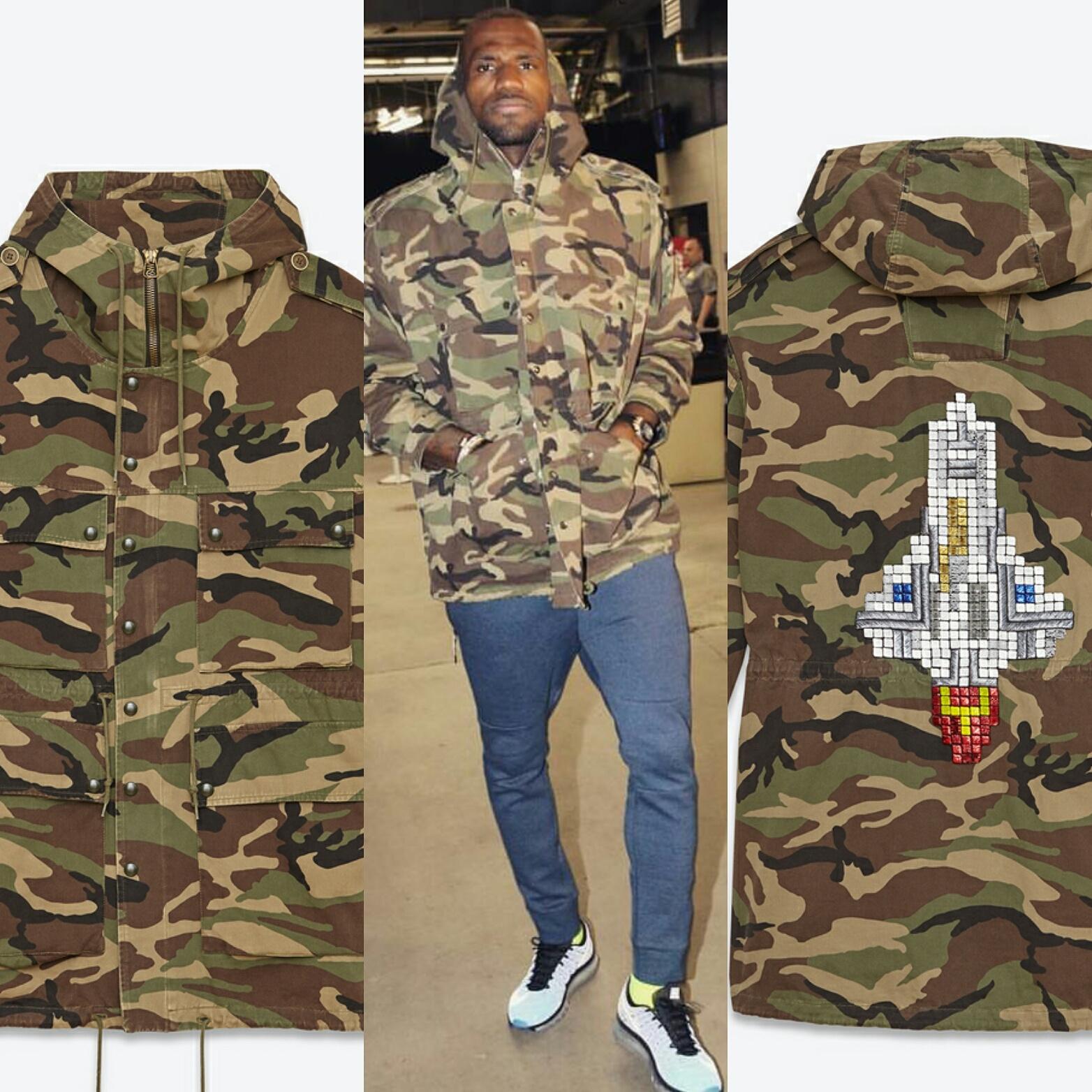STYLE: Lebron James' Saint Laurent Embellished Camouflage Parka