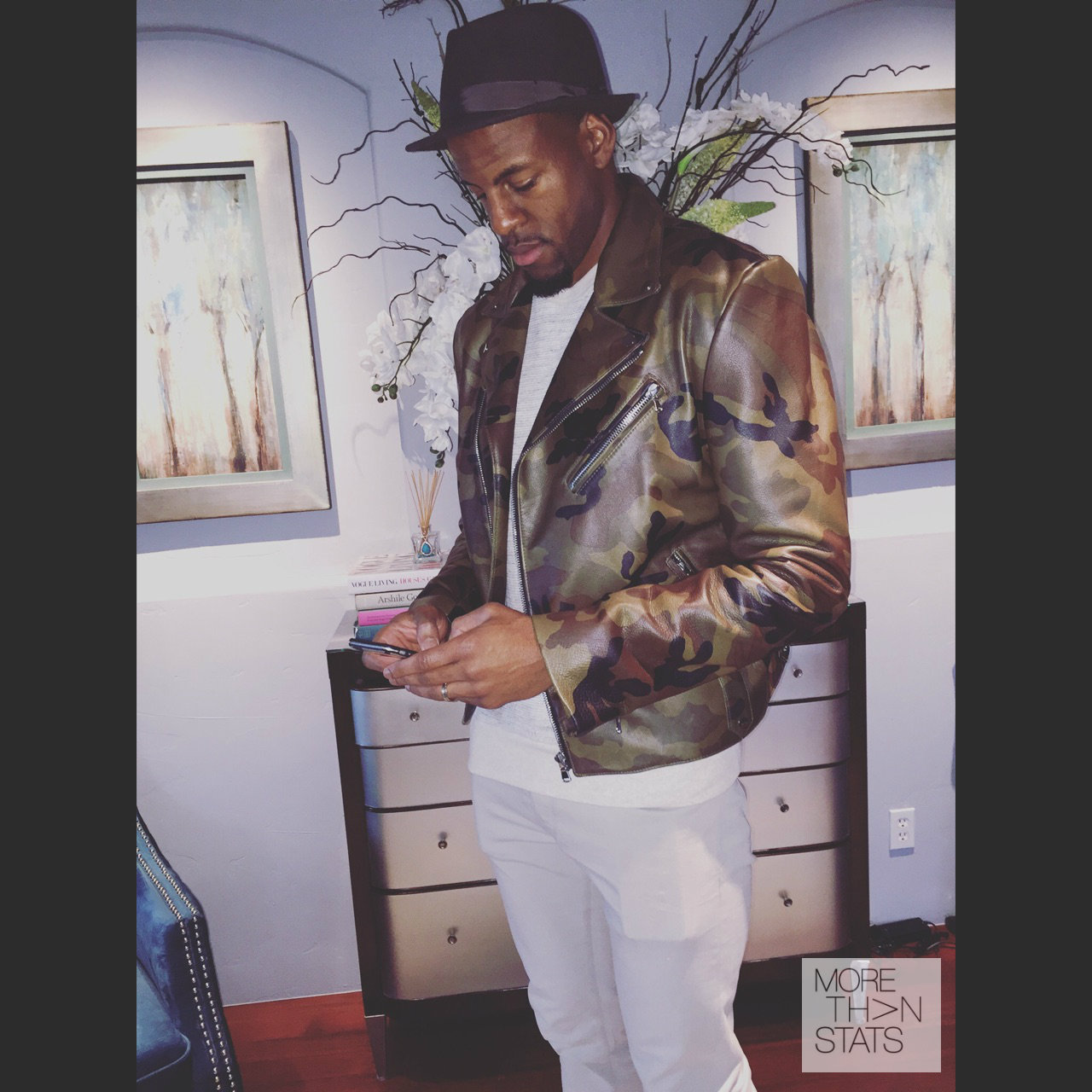 STYLE: Andre Iguodala's Instagram Pyer Moss 'Killer' Camouflage Biker Jacket