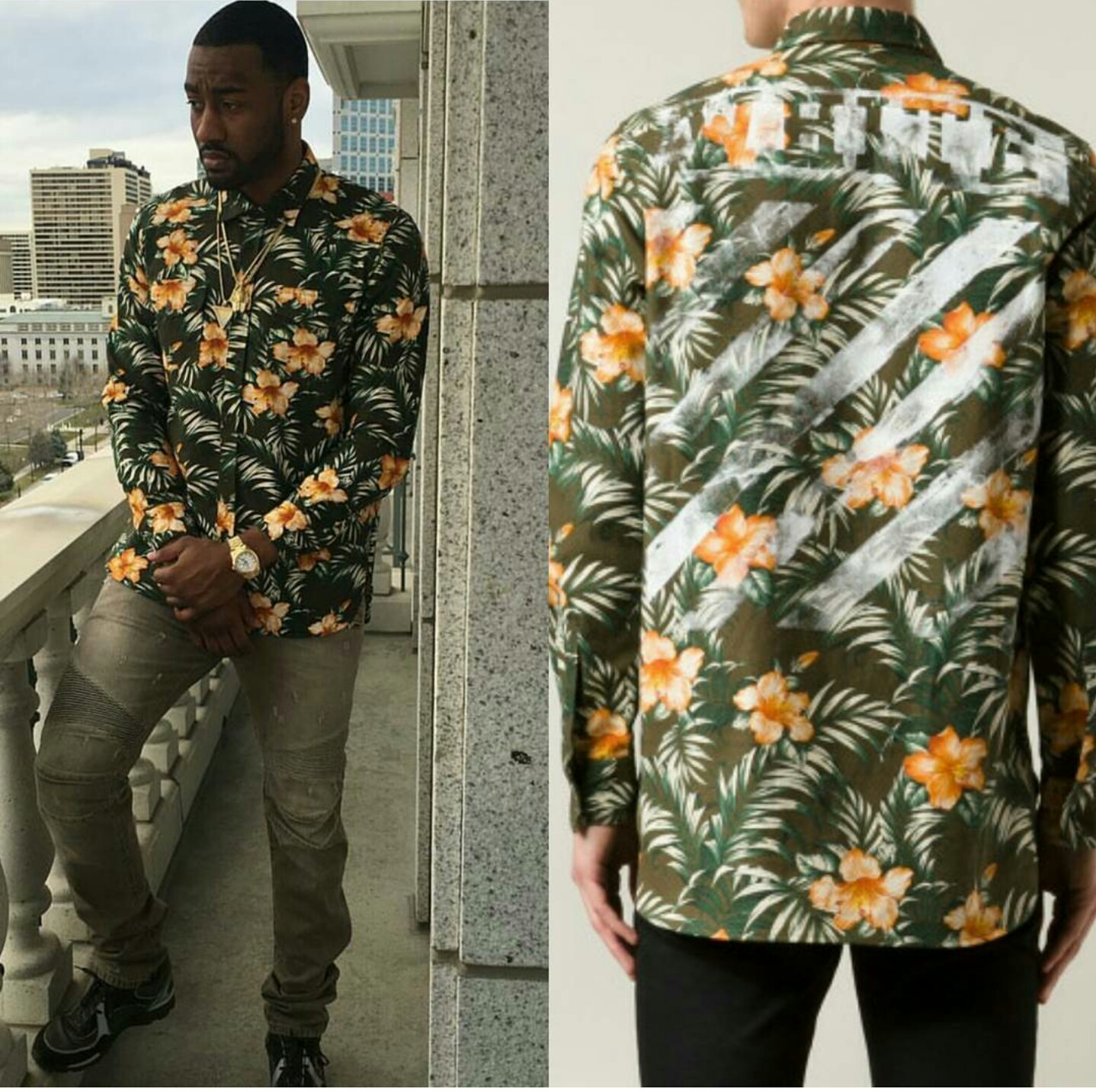 STYLE: John Wall's Instagram Off White Floral Print Shirt