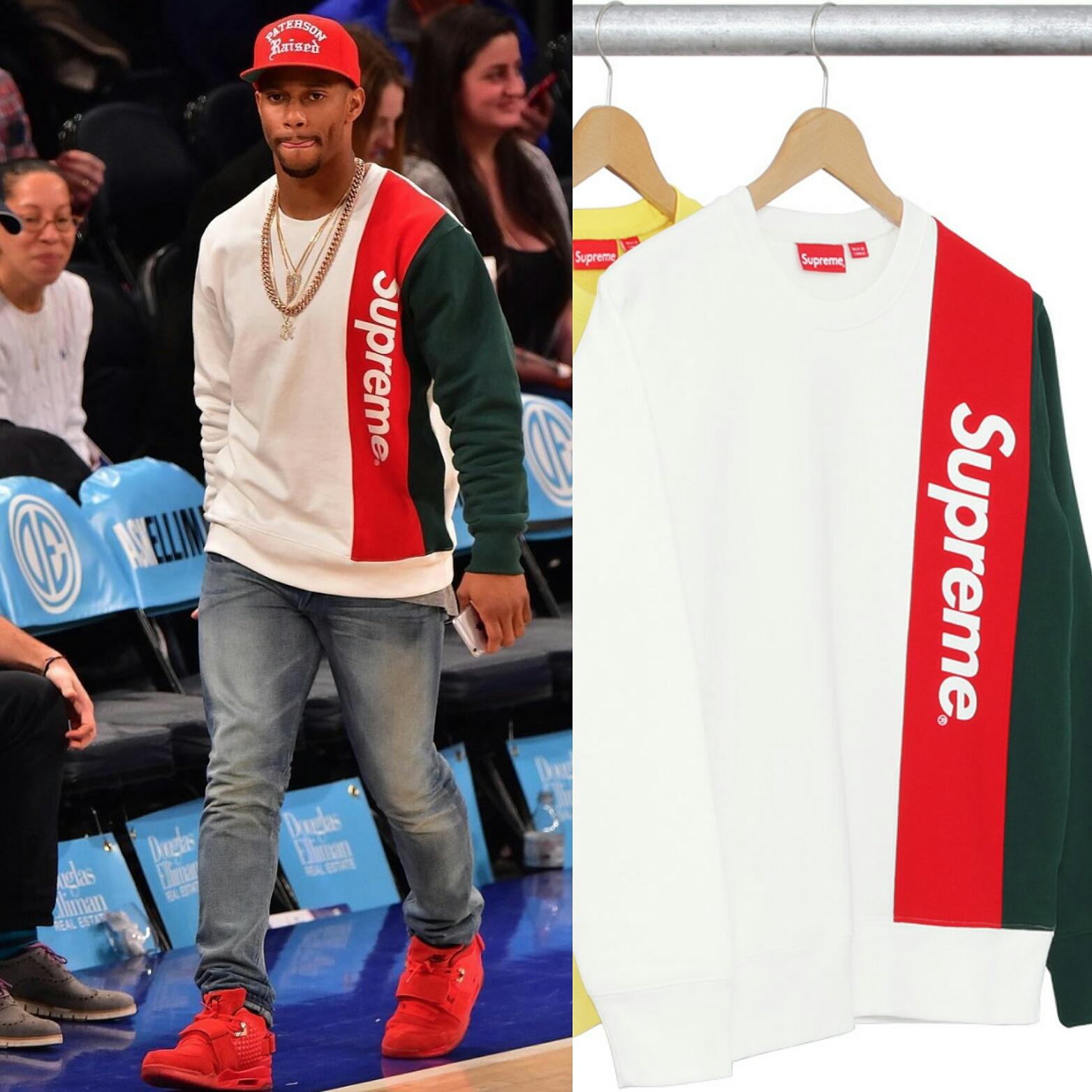 STYLE: Victor Cruz's Supreme Panelled Crewneck Sweatshirt