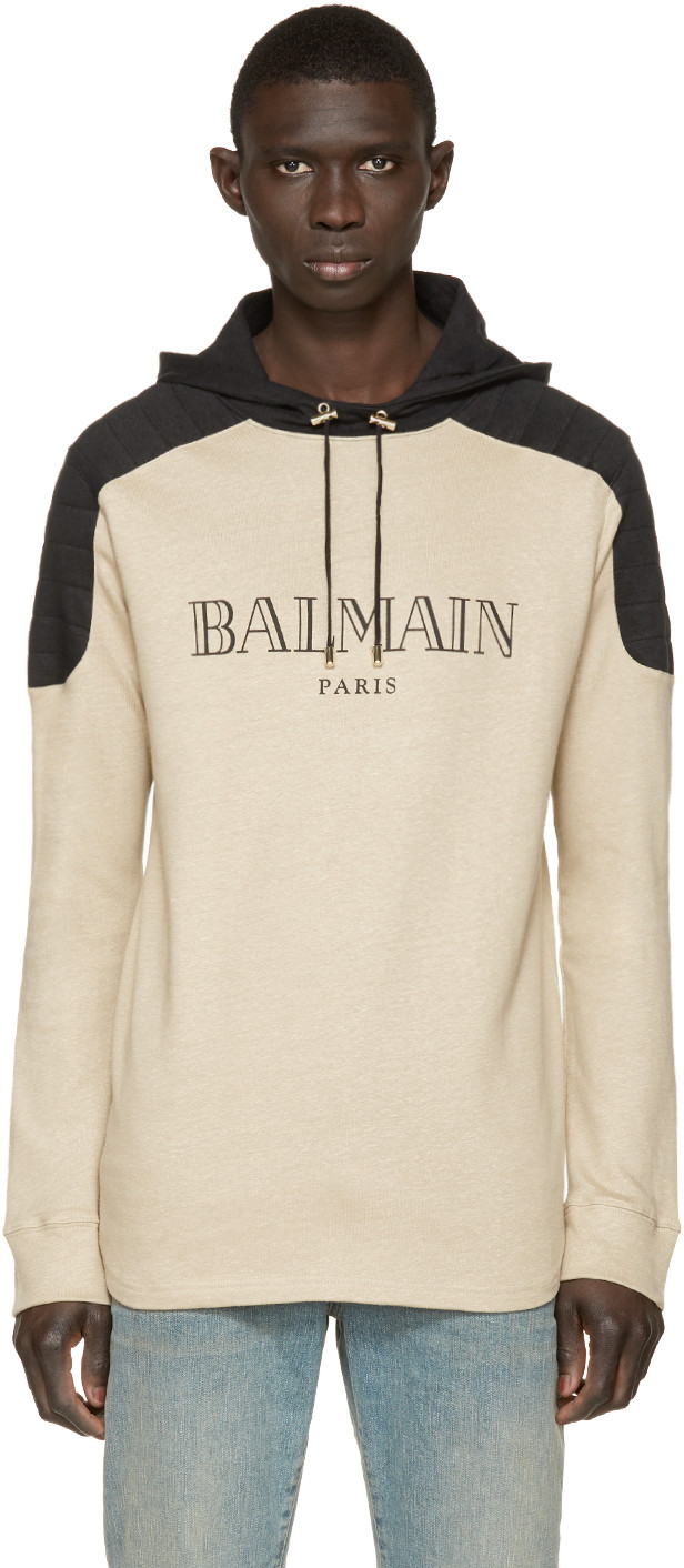 balmain-beige-logo-hoodie