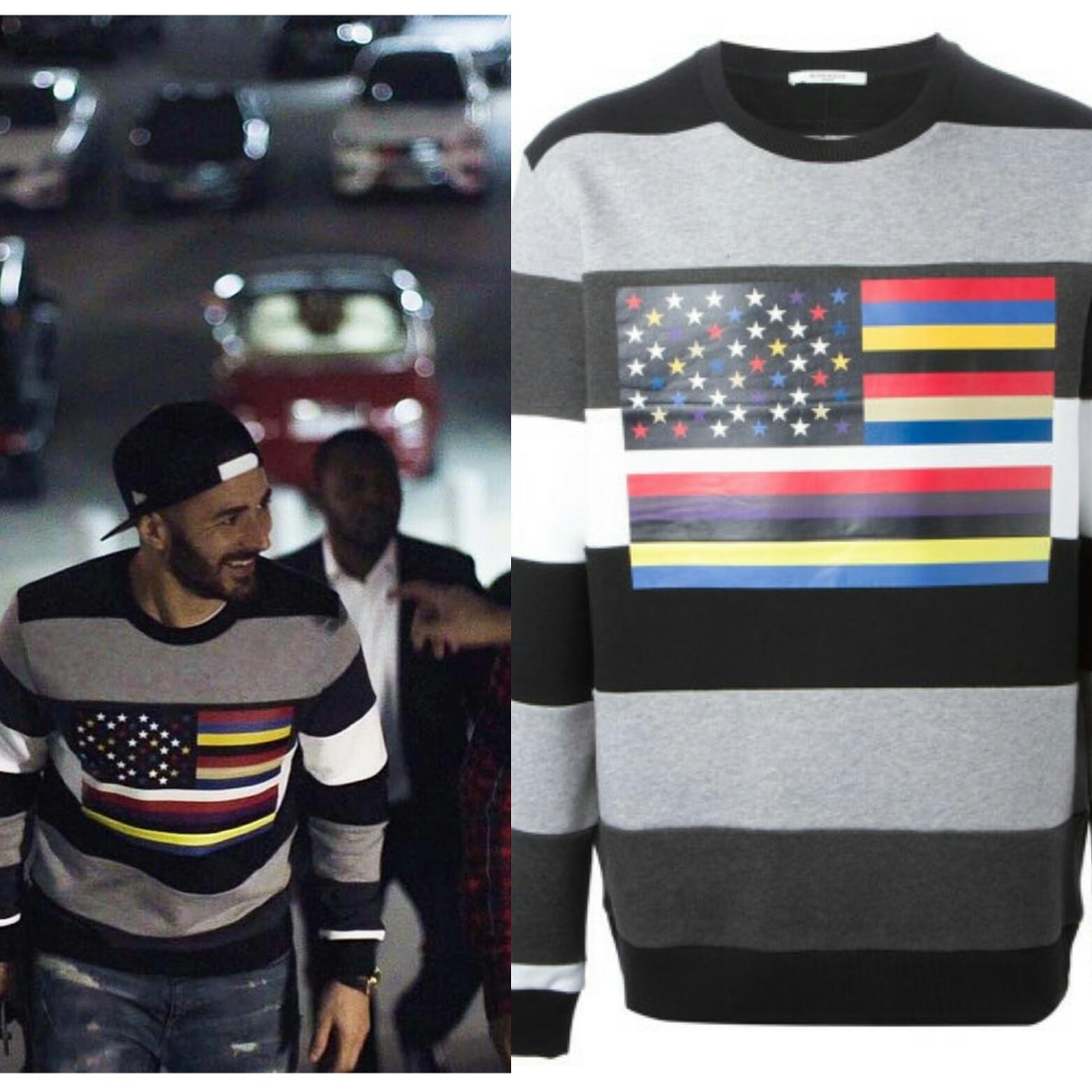 STYLE: Karim Benzema's Instagram Givenchy Flag Print Sweatshirt