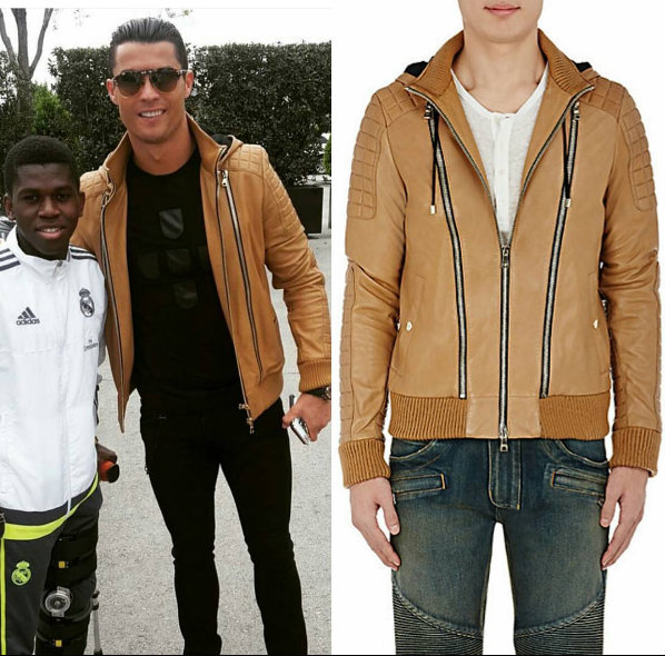 Cristiano Ronaldo's Instagram Balmain Leather Hooded Jacket