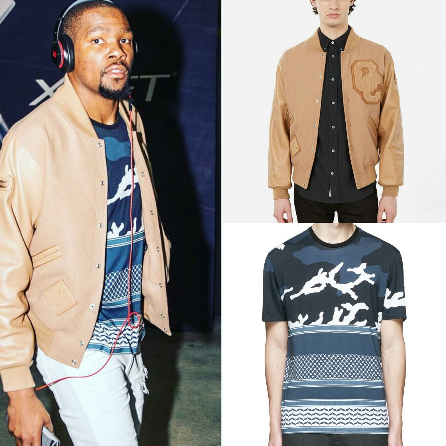 STYLE: Kevin Durant's Opening Ceremony Varsity Jacket And Neil Barrett Mix Printed Shirt
