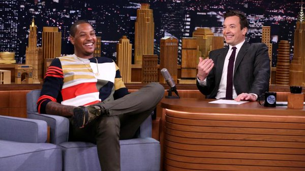 STYLE: Carmelo Anthony's Jimmy Fallon Show Running Man Challenge Dior  Multi-Colored Patchwork Sweater