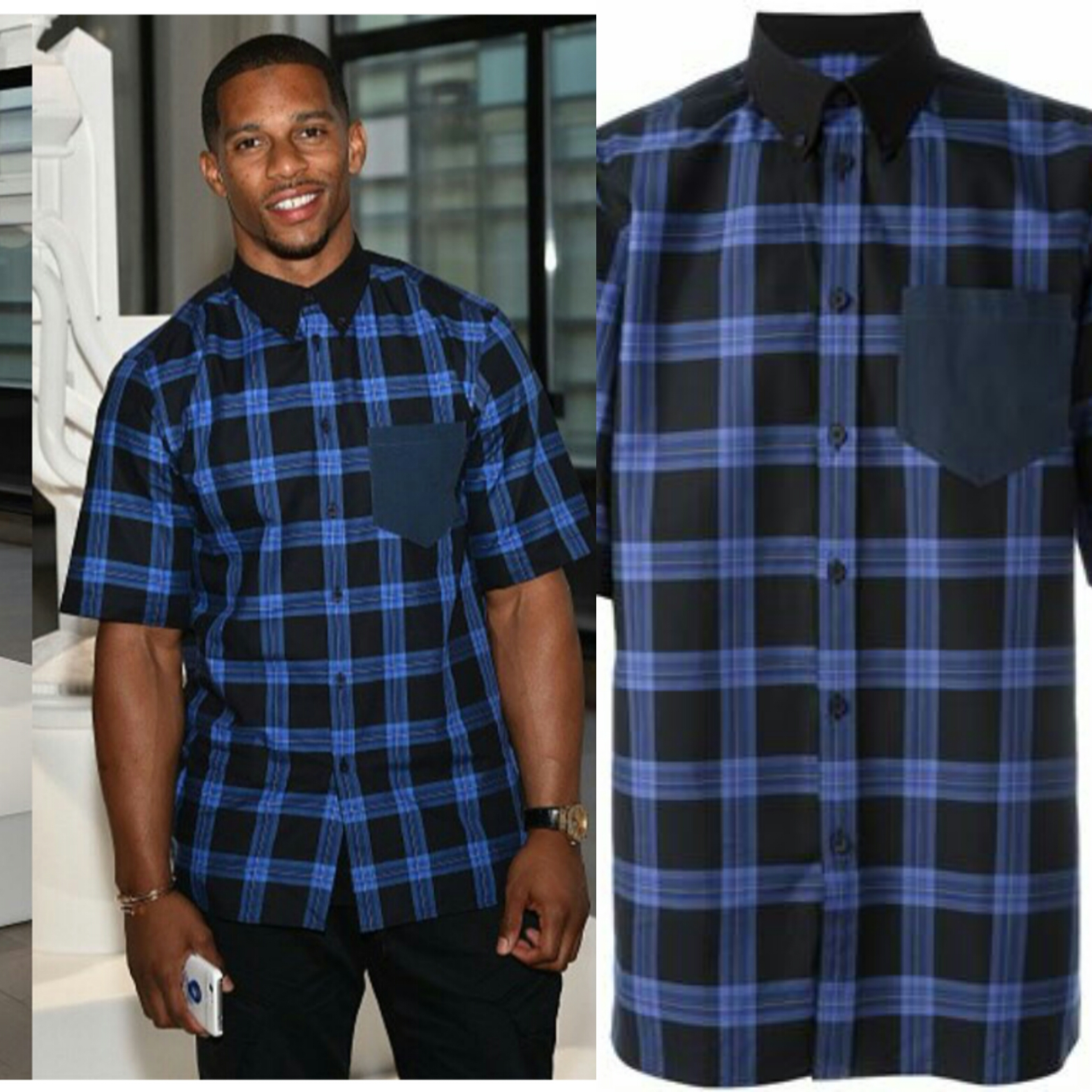 Victor Cruz's Jeff Koons x Google Event Givenchy Plaid Print Boxy Shirt