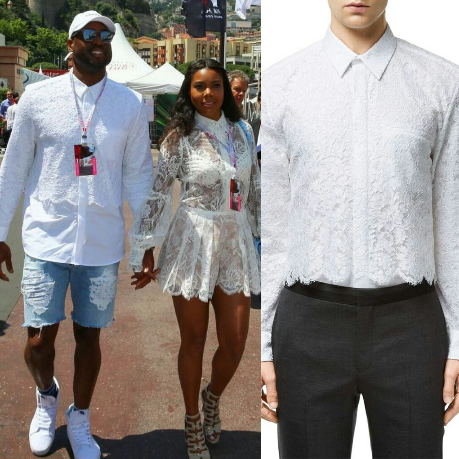 STYLE: Dwyane Wade Wears Givenchy Couture Lace Overlay Shirt