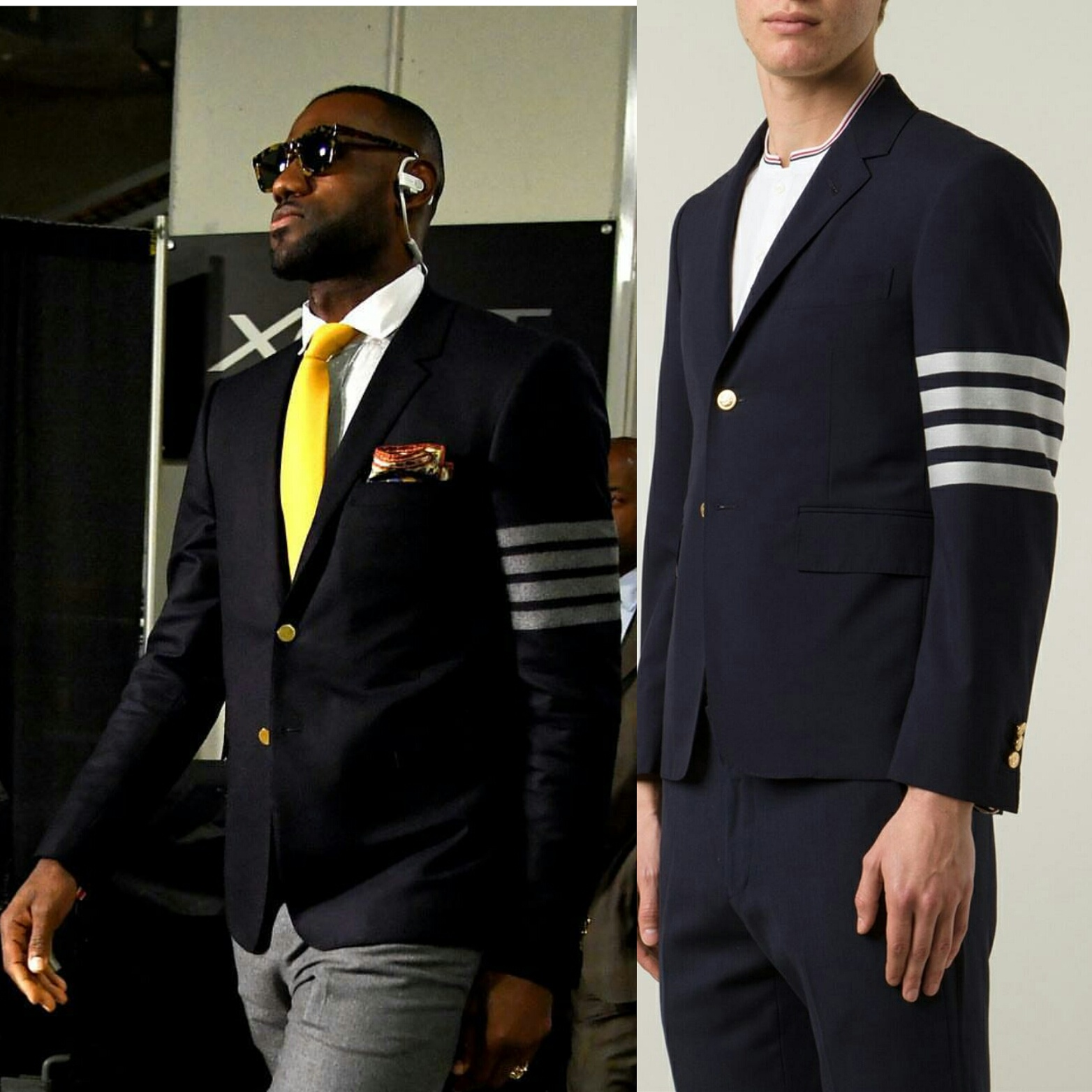 Lebron James' Game 1 NBA Finals 2016 Thom Browne Striped Armband Blazer
