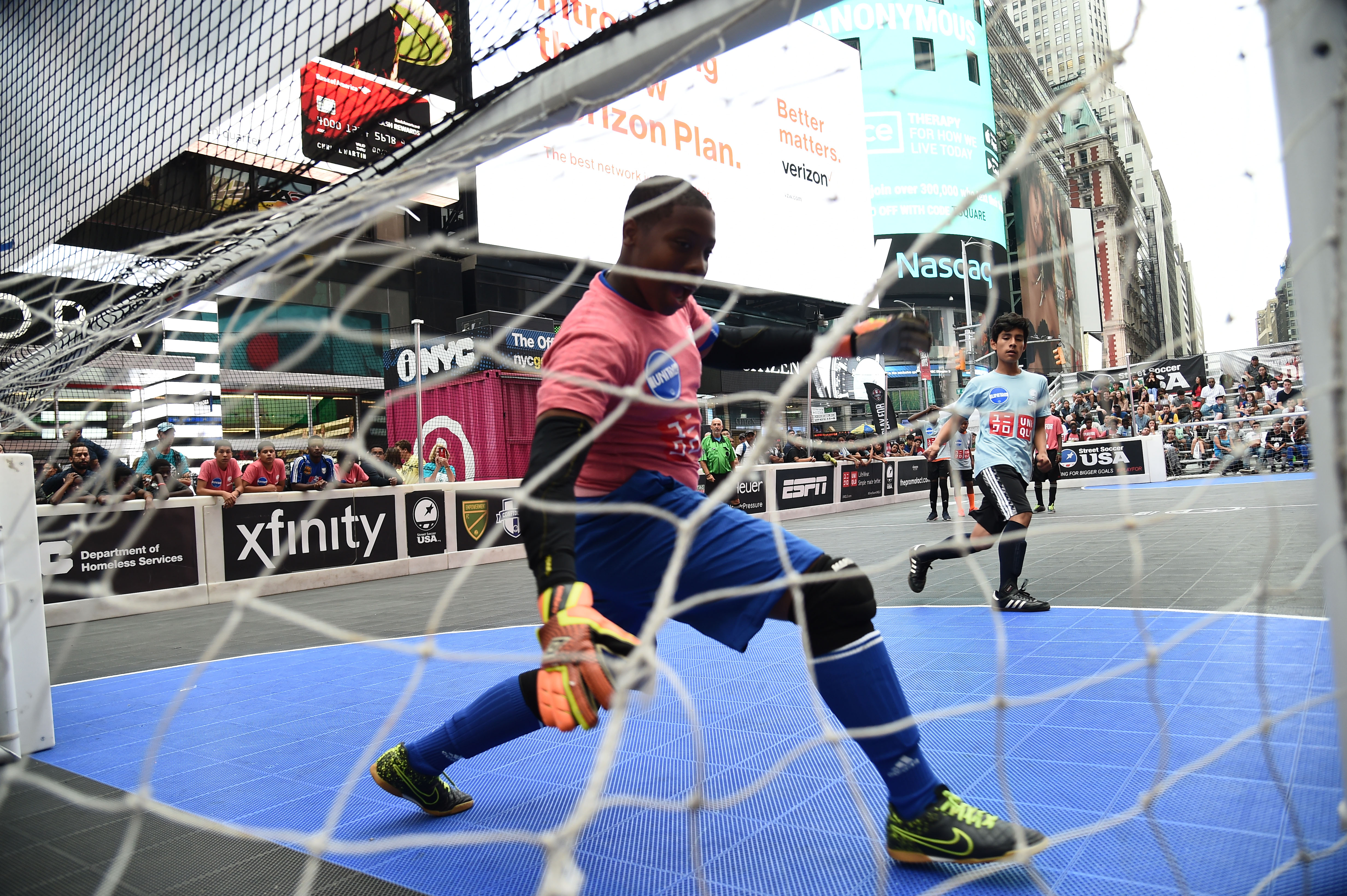 NEW YORK, NY - JULY 09:  General view of atmosphere during the Street Soccer USA Cup at Times Square on July 9, 2016 in New York City.  (Photo by Ilya S. Savenok/Getty Images for Street Soccer USA)