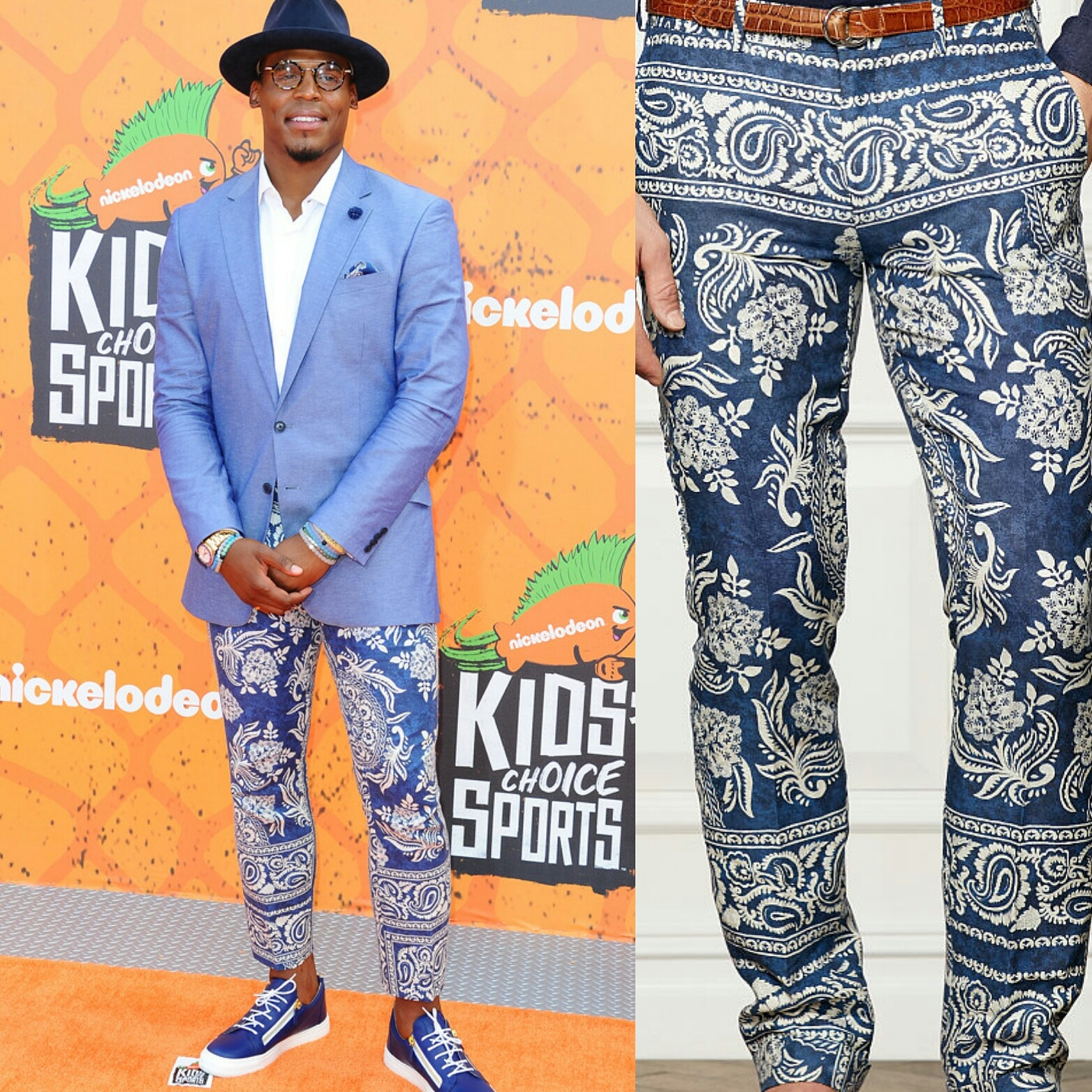 STYLE: Cam Newton Wears Flashy Ralph Lauren Paisley-Print Pants For 2016 Nickelodeon Kids Choice Sports Awards