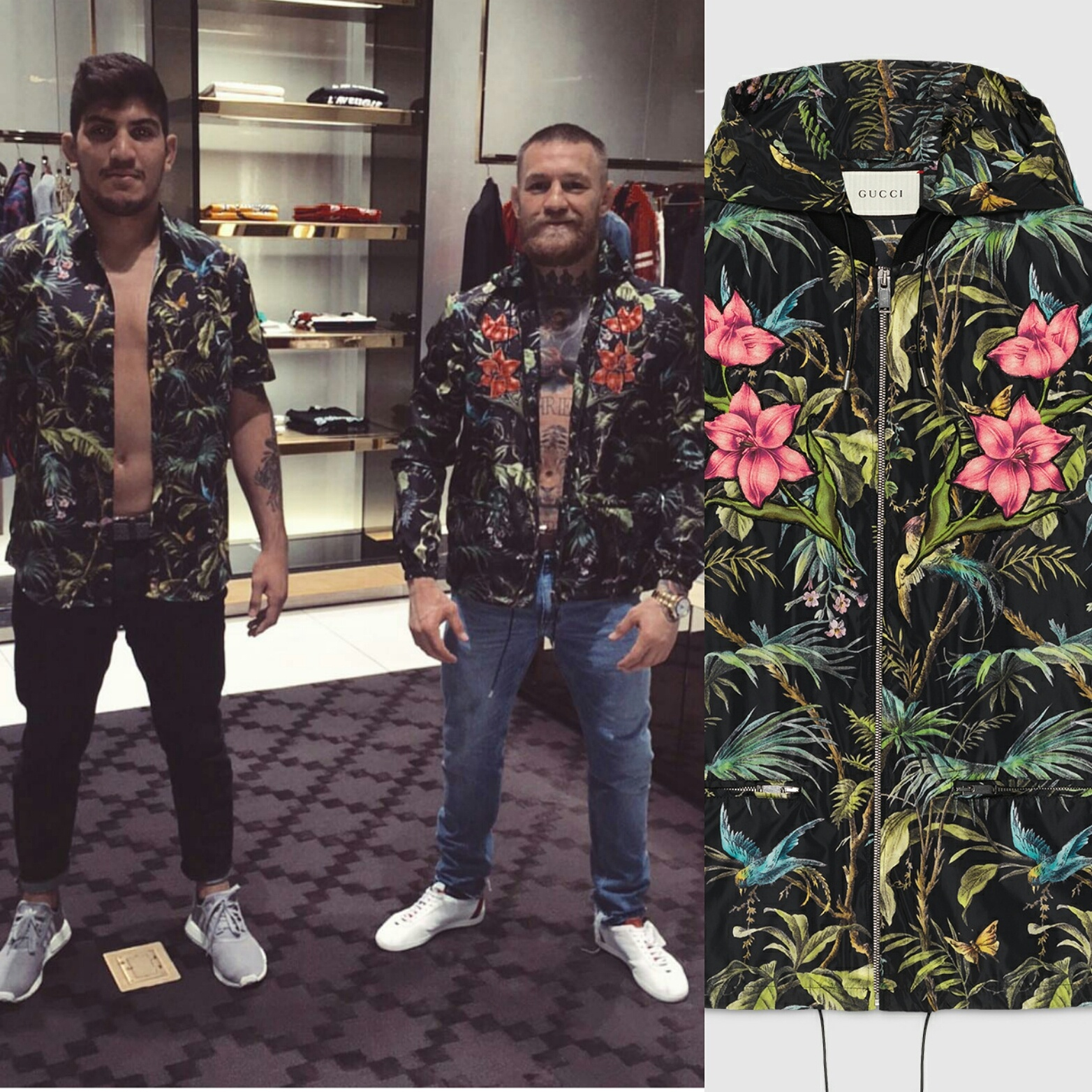 08d957682 STYLE  UFC Conor McGregor s Instagram Gucci Tropical Print Jacket