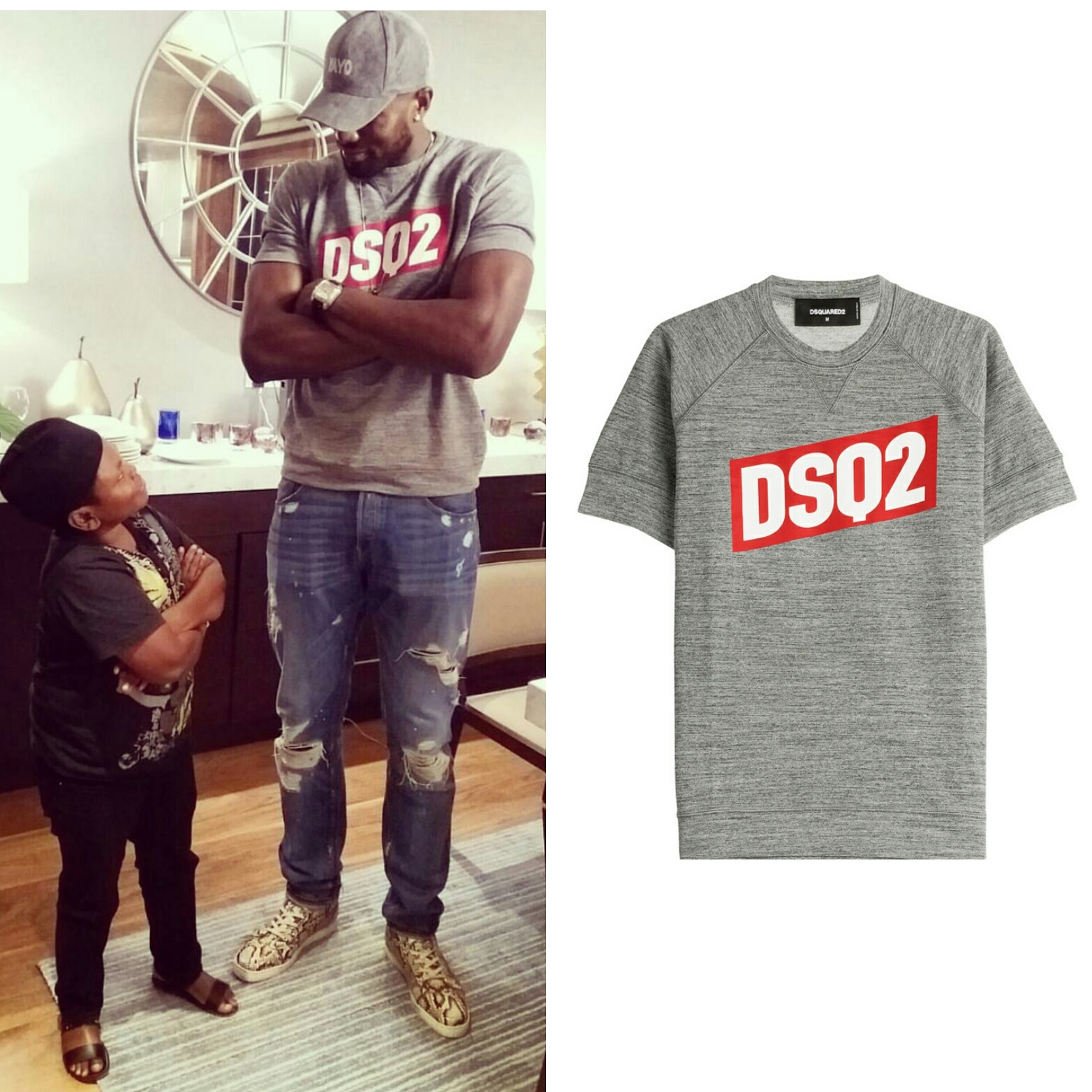 STYLE: Serge Ibaka's Instagram Dsquared 2 Logo Sweatshirt And Christian Louboutin Multi Sneakers