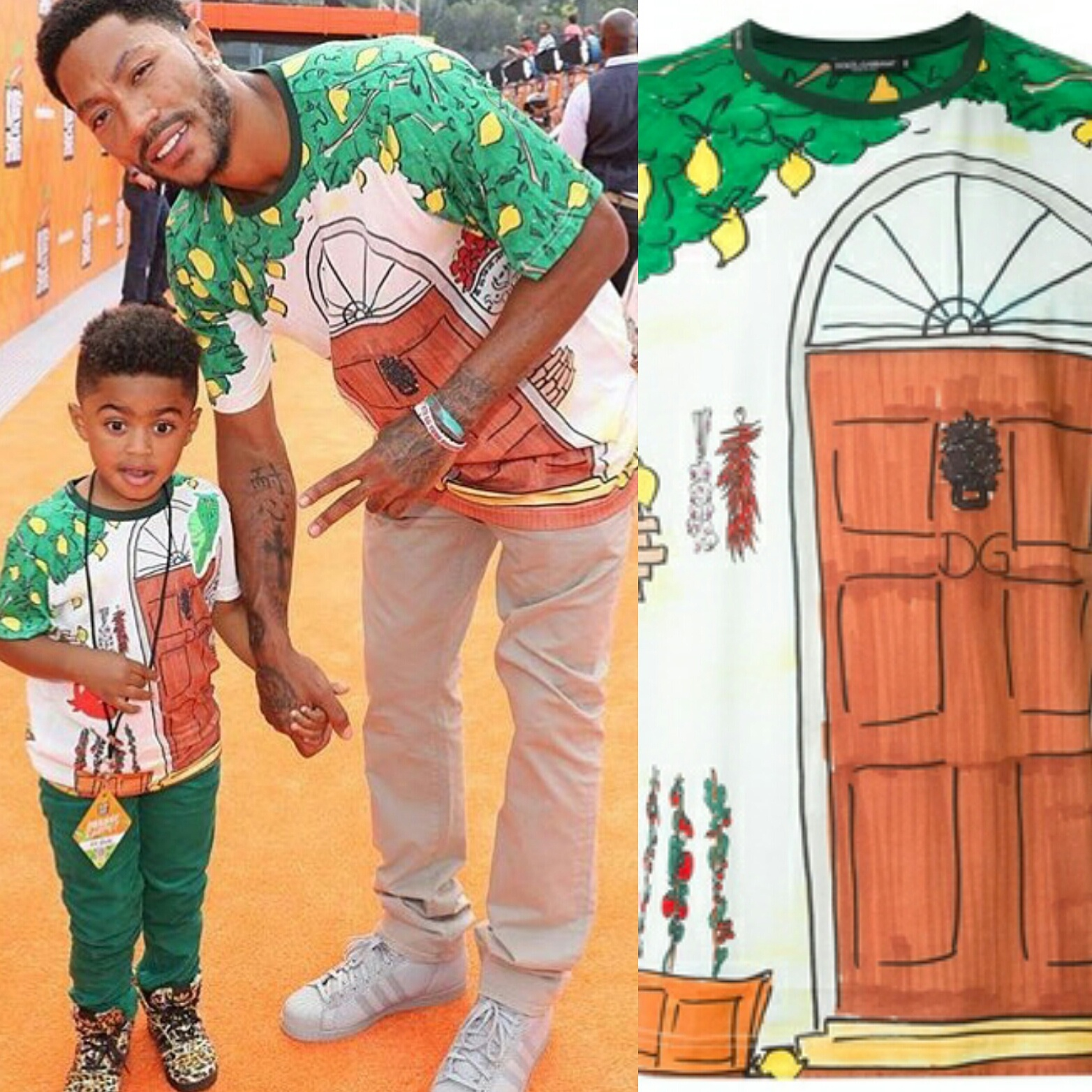 STYLE: NBA Derrick Rose & Son Wore Macthing Dolce & Gabbana Drawing Print T-shirts To The 2016 Nickelodeon Kids Choice Sports Awards