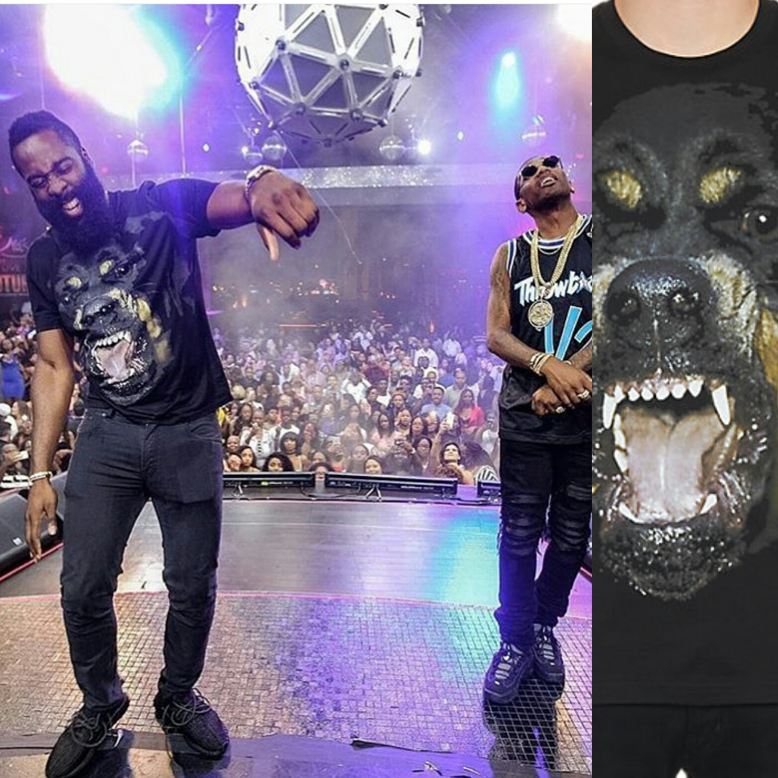 STYLE: NBA James Harden In Las Vegas Wearing Givenchy Rottweiler Tee & Yeezy 350 Boost Sneakers