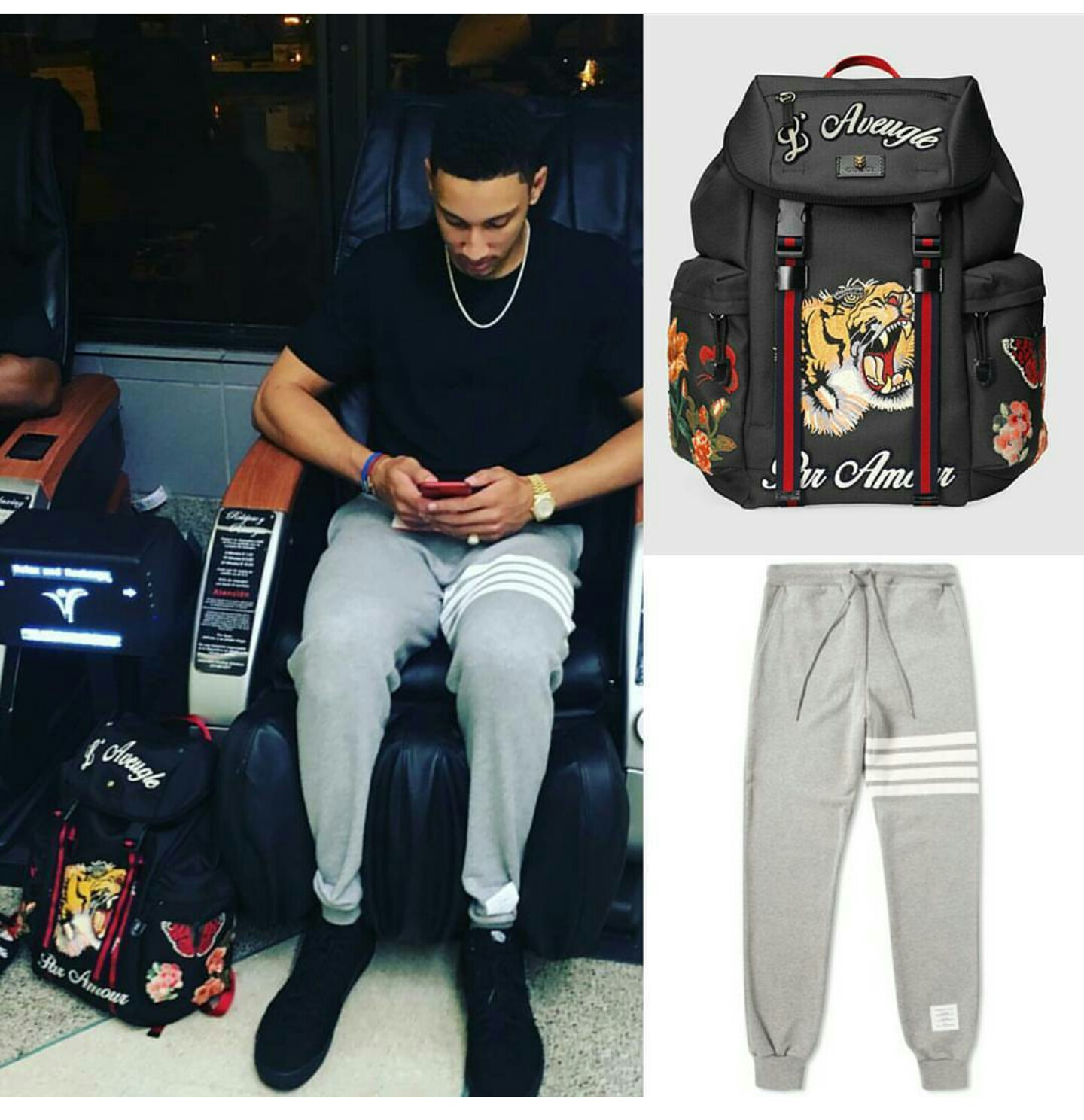 STYLE: NBA Ben Simmons' Instagram Thom Browne Sweatpants And Gucci Techpack With Embroidery