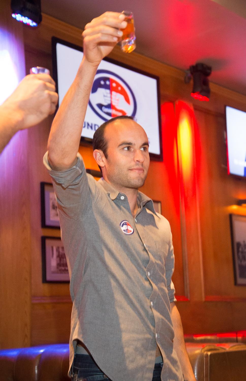 Landon Donovan giving a toast