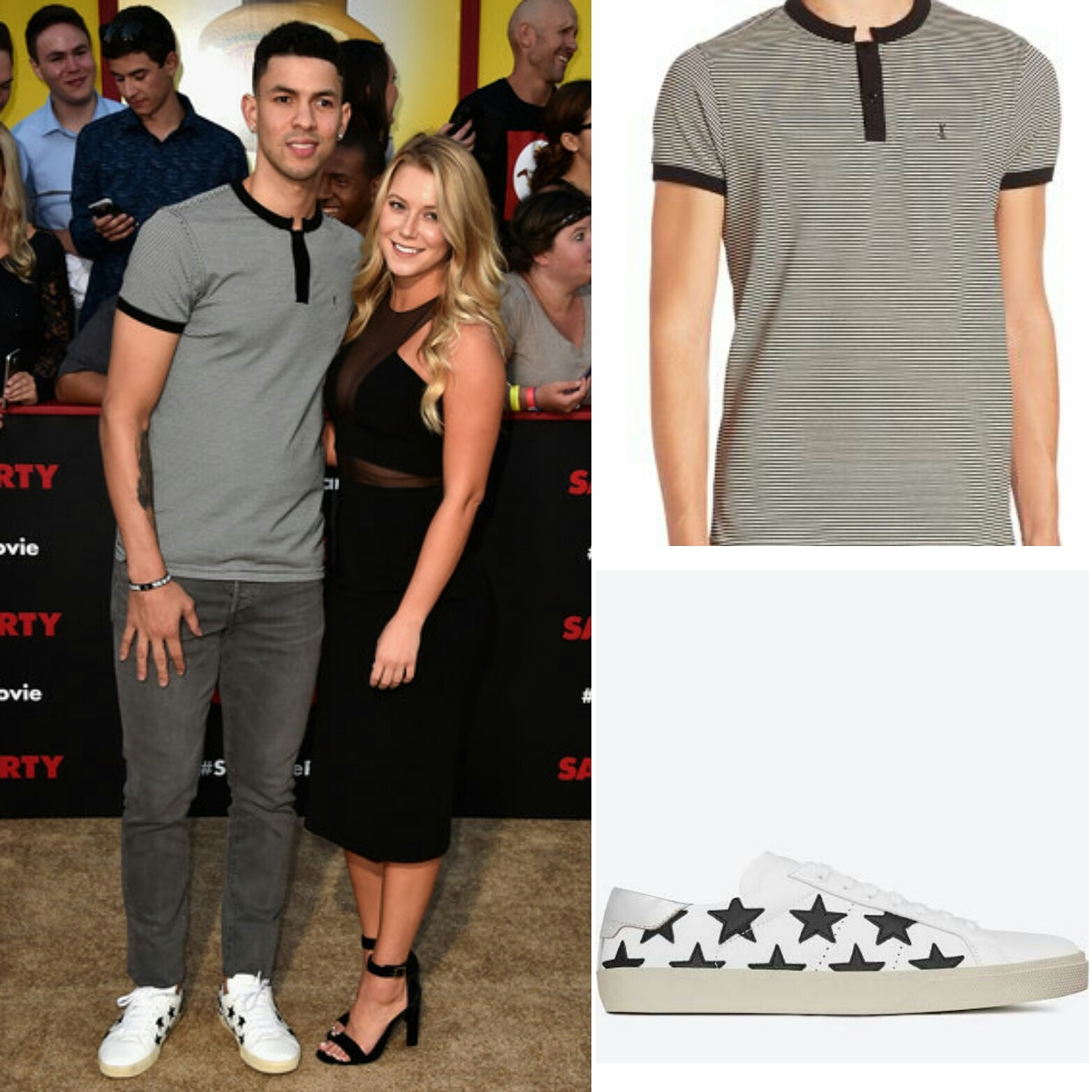 STYLE: NBA Austin Rivers' Sausage Party Premiere Saint Laurent Striped Henley And Saint Laurent Signature Court Classic Sneakers