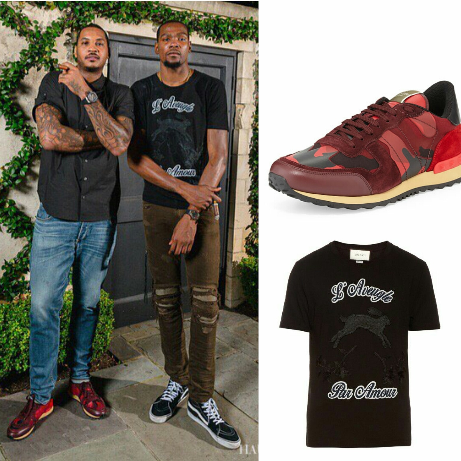 STYLE: Carmelo Anthony's Valentino 'Camouflage Sneakers And Kevin Durant's Gucci Hare Applique shirt.