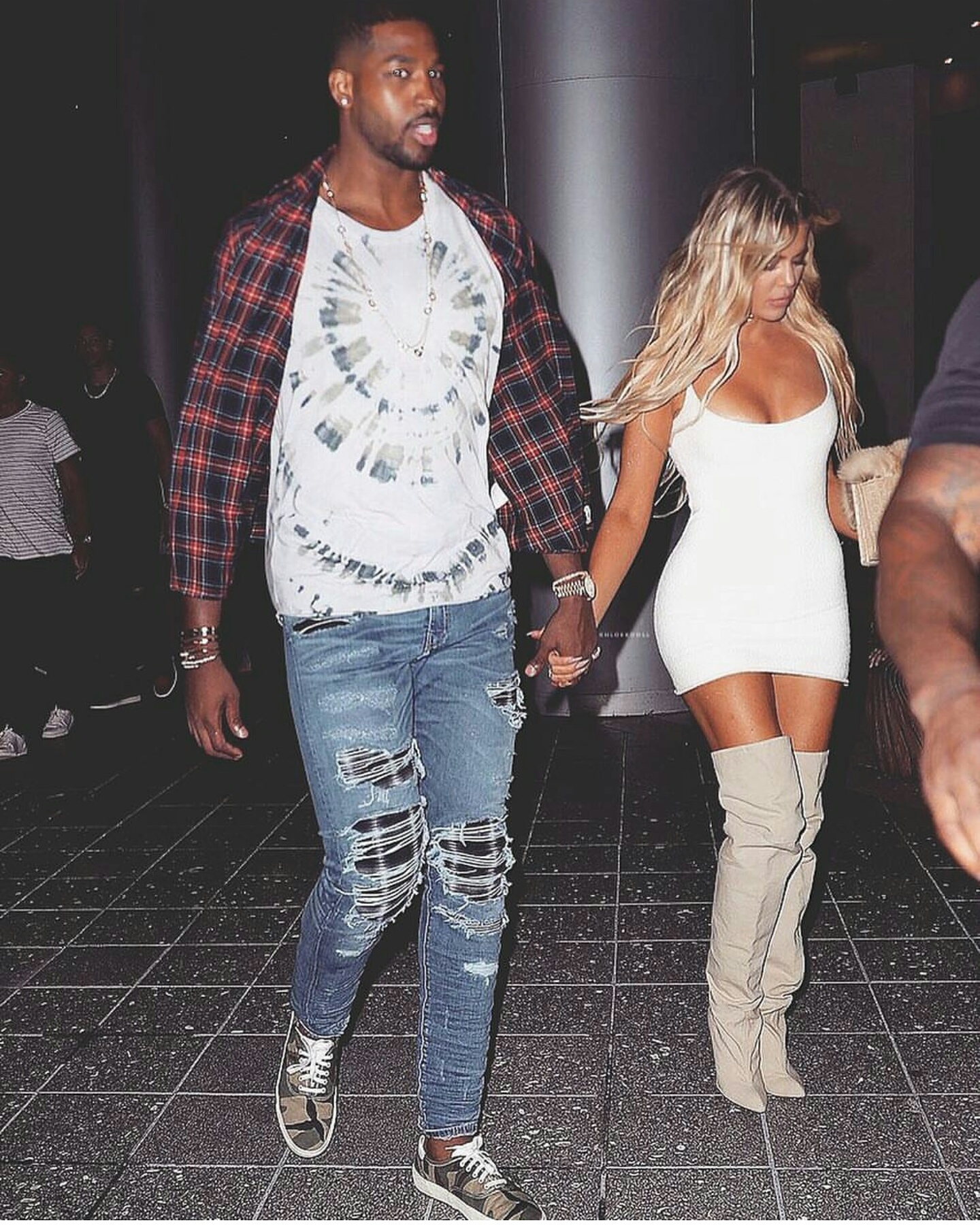 Tristan Thompson & Khloe Kardasian Spotted: Tristan Wears Gucci Flannel, Valentino t-shirt, Mike Amiri Jeans, And Saint Laurent Sneakers