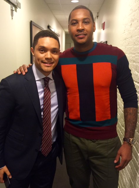 STYLE: Carmelo Anthony's The Daily Show w/ Trevor Noah Salvatore Ferragamo Colour Block Sweater