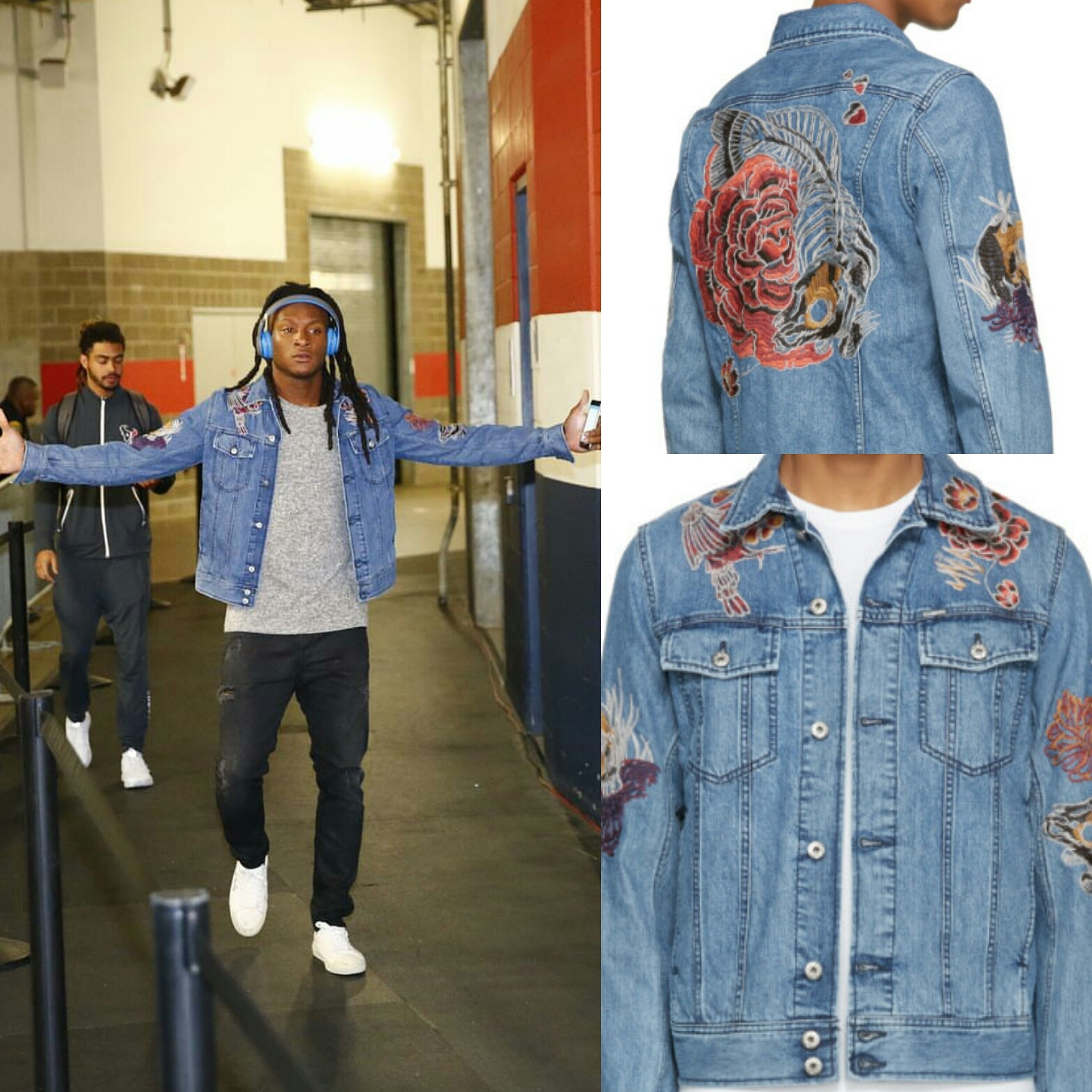 STYLE: Deandre Hopkins' Instagram Diesel Blue Embroidered  Denim Jacket
