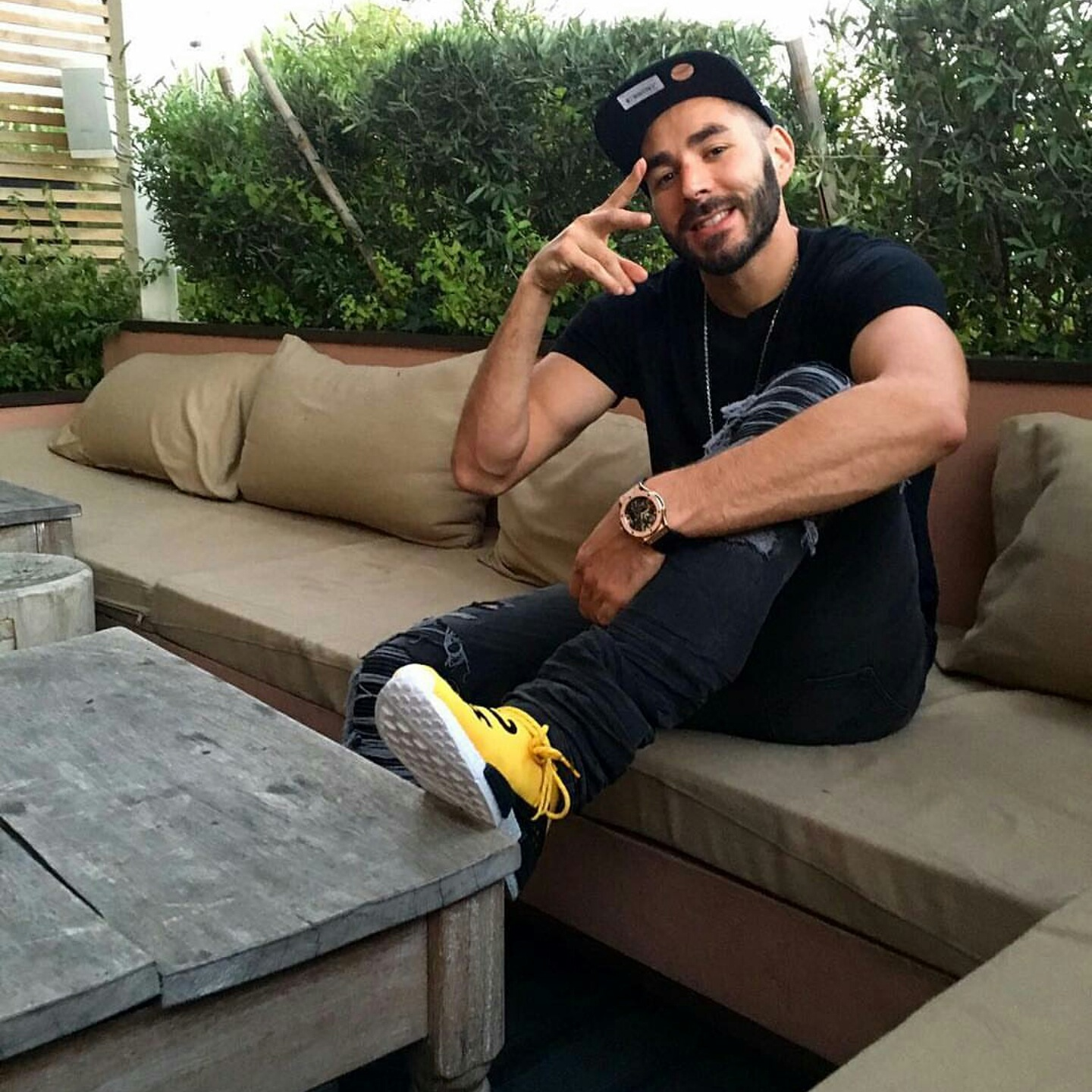 STYLE: Karim Benzema's Instagram Mike Amiri Jeans &  Pharrell x Adidas NMD Human Race Sneakers