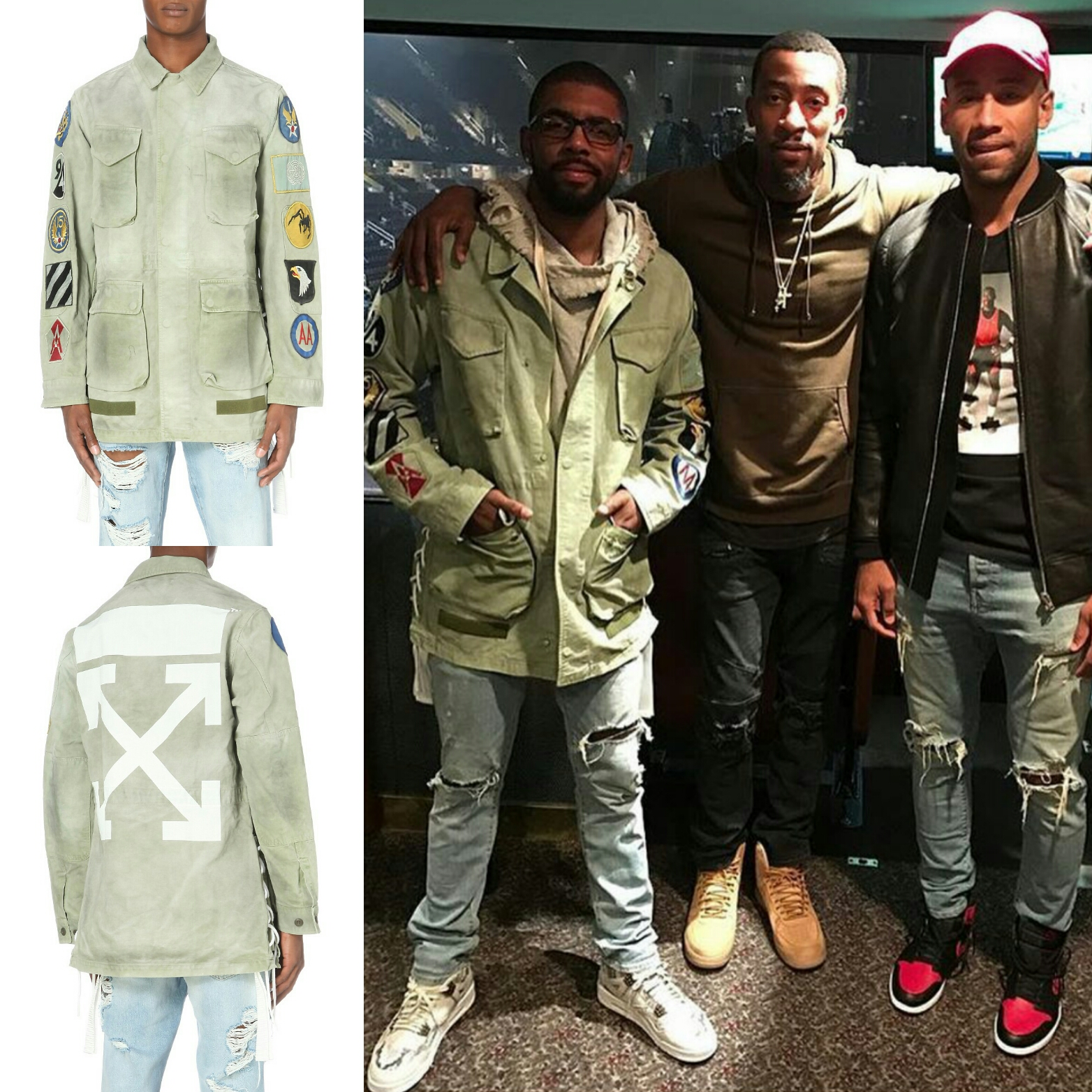 STYLE: Kyrie Irving's Wears Off White Faded Field Jacket To Kanye West's Saint Pablo Tour