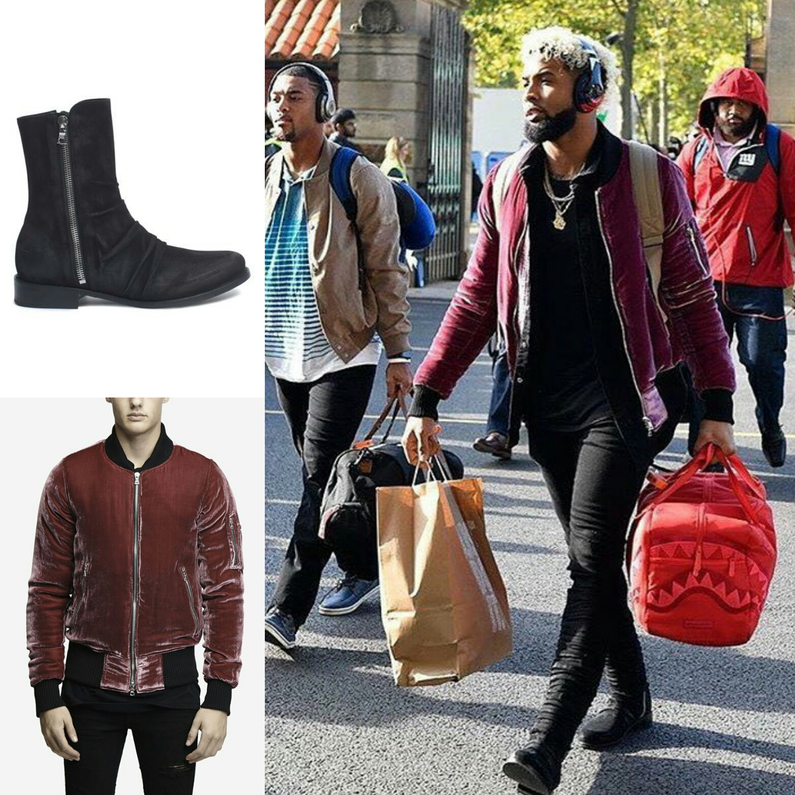 STYLE: Odell Beckham Jr's London Trip Amiri Velvet Bomber Jacket & Mike Amiri Stack Boots