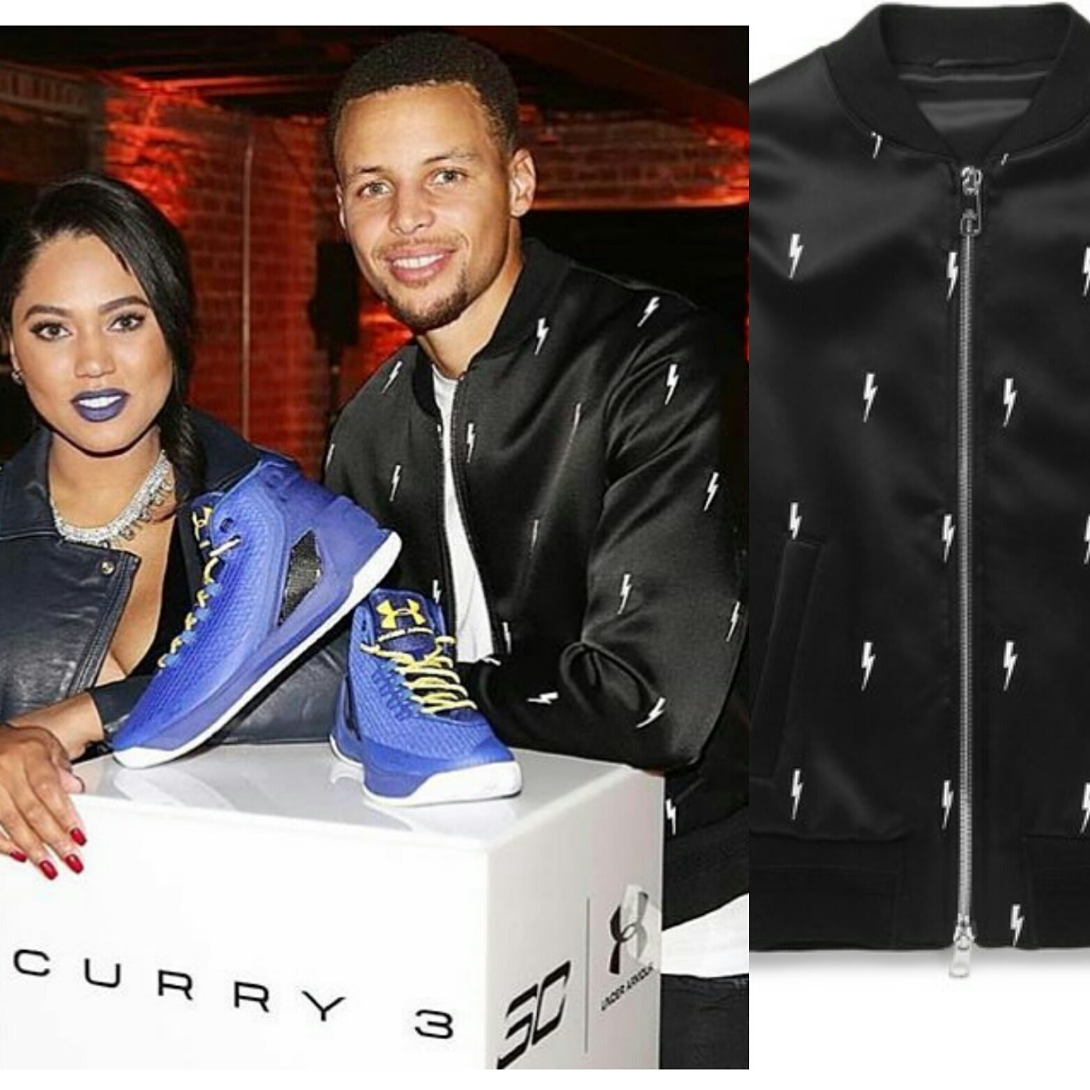 STYLE: Stephen Curry's Under Armour Curry 3 Launch Event Neil Barrett Thunderbolt Jacket