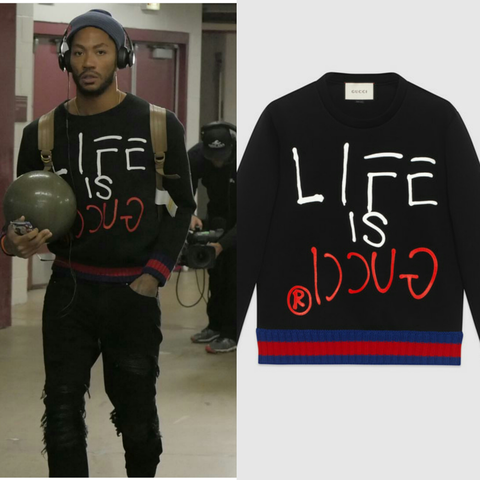 "STYLE: Derrick Rose Wears Gucci ""LIFE IS GUCCI"" Logo Sweater To Chicago"