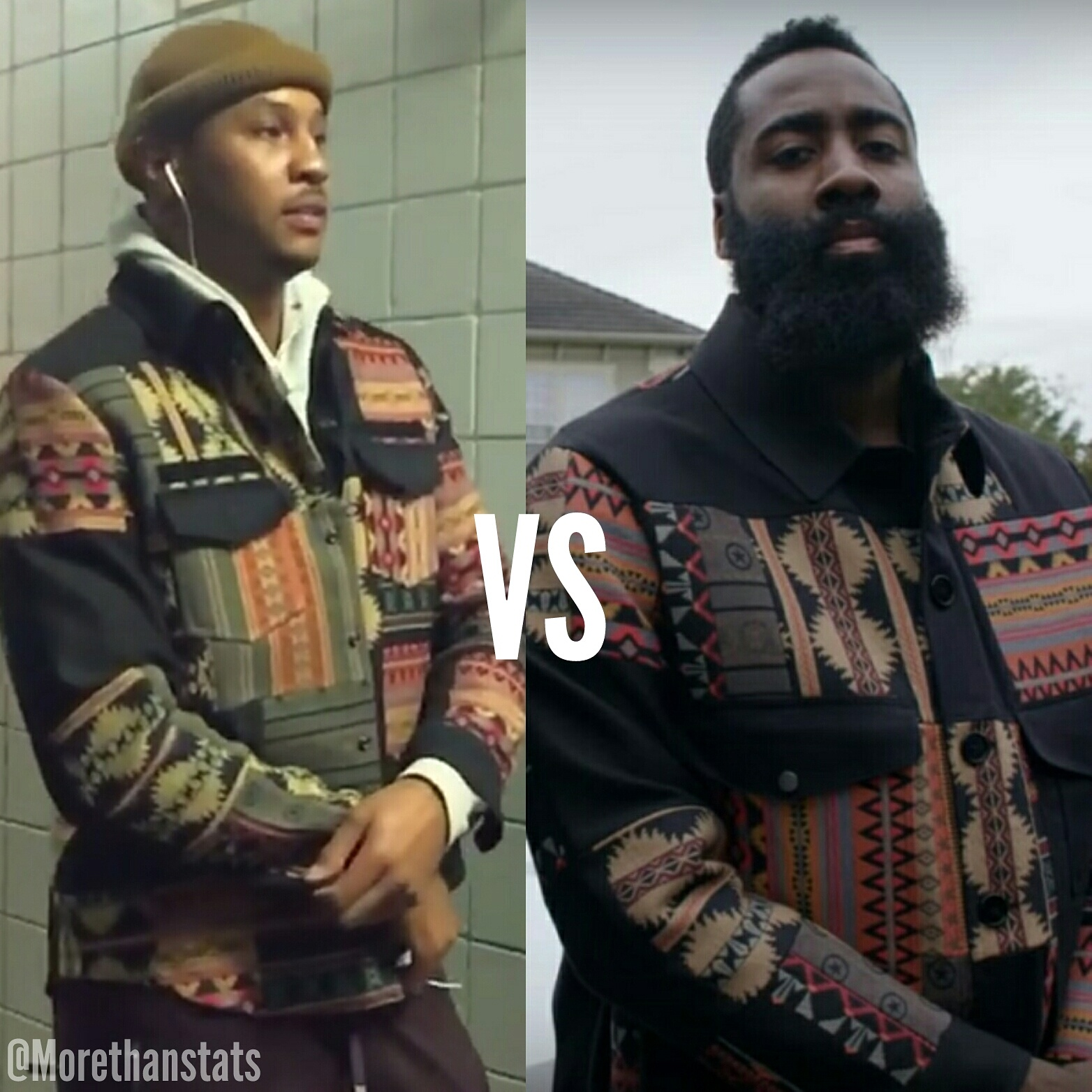 STYLE: Carmelo Anthony VS James Harden Wearing Valentino Geometric Shirt Jacket