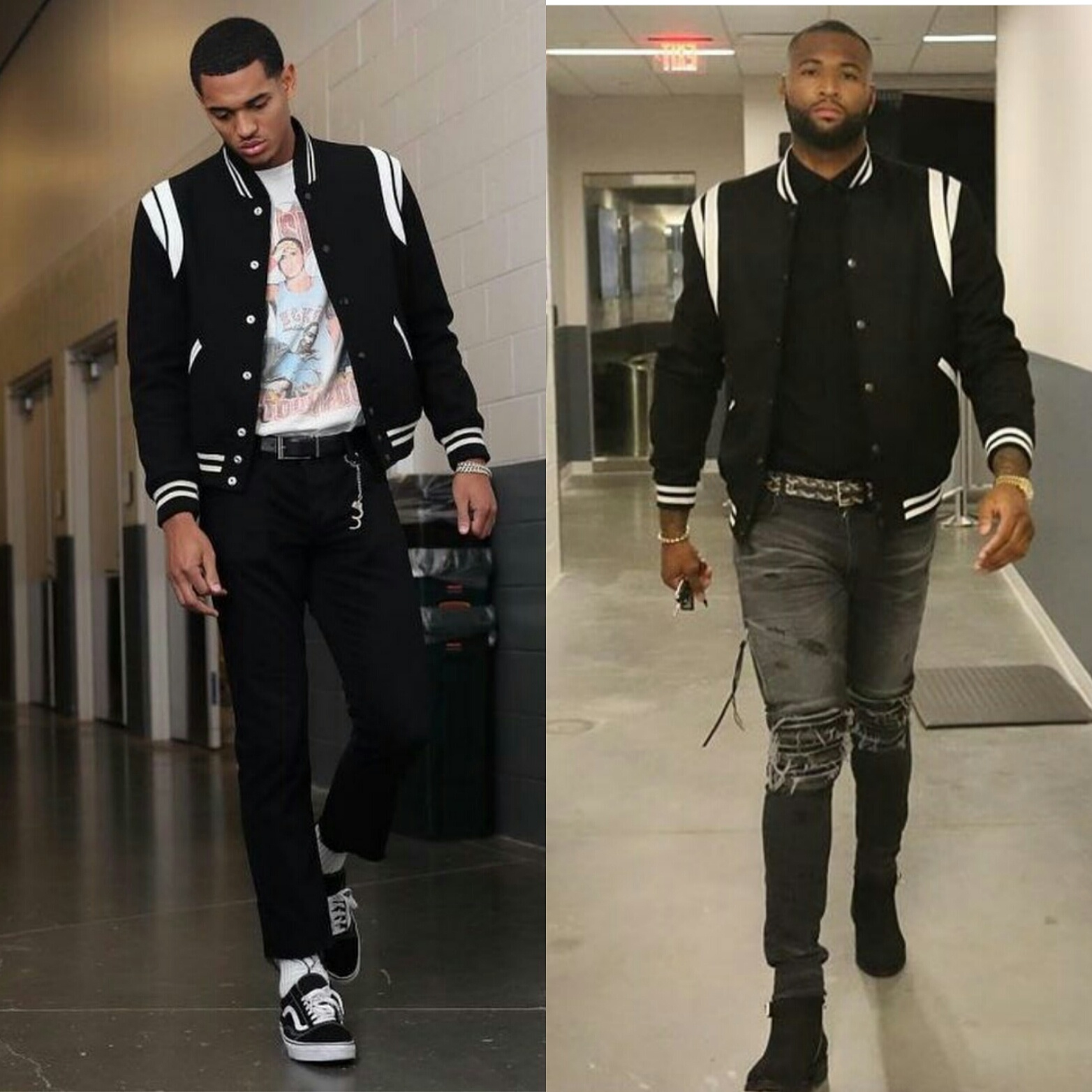 "WHO WORE IT BETTER? NBA Jordan Clarkson vs Demarcus Cousins In Saint Laurent ""Teddy"" Varsity Mens Fashion Jacket"