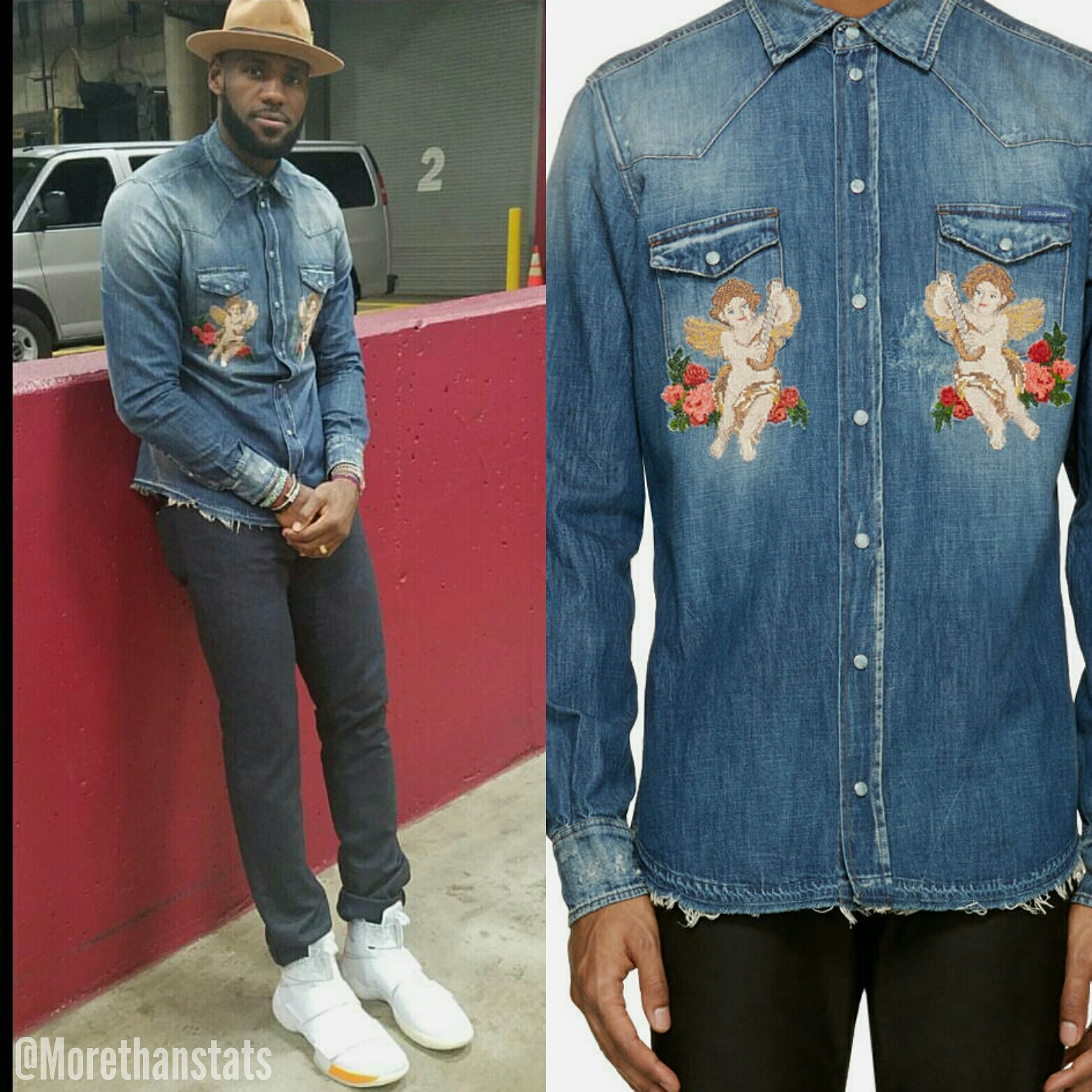 STYLE: Lebron James' Instagram Dolce & Gabbana Mens Denim 'Cherub' Shirt And Lebron Solider x John Elliott Sneakers