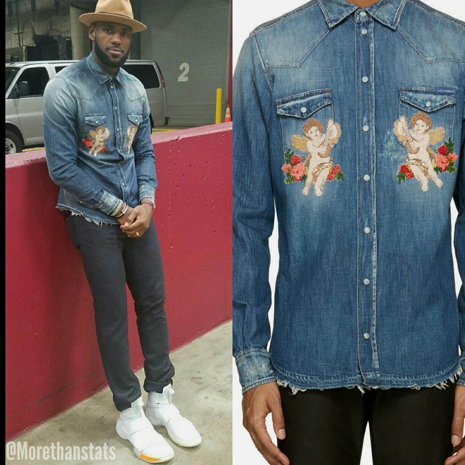 STYLE: Lebron James' Instagram Dolce & Gabbana Mens Denim 'Cherub' Shirt And Lebron Solider x John Elliott Sneakers