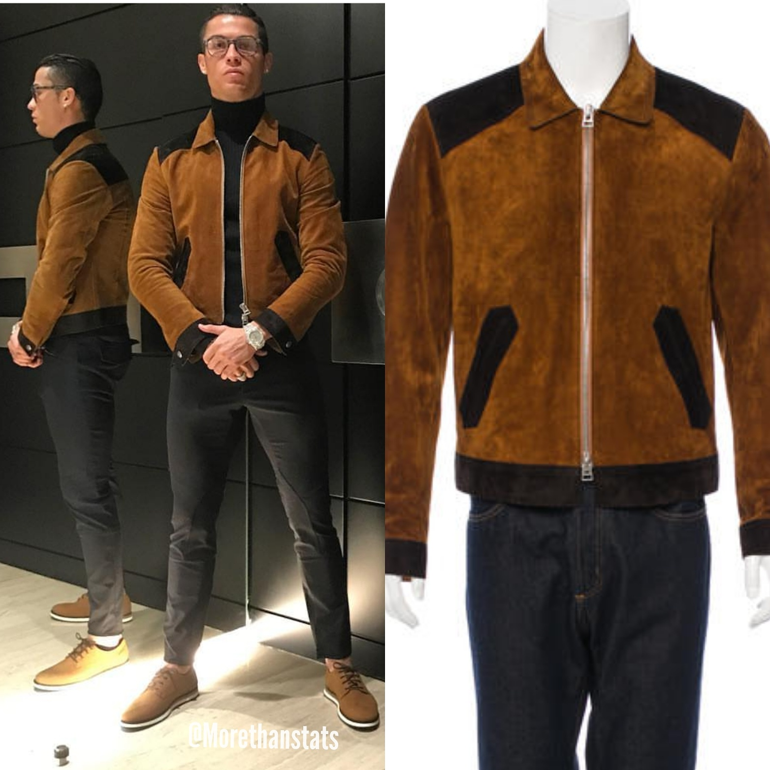 58542e3fa STYLE: Cristiano Ronaldo's Instagram Tom Ford Two-Toned Brown Suede ...