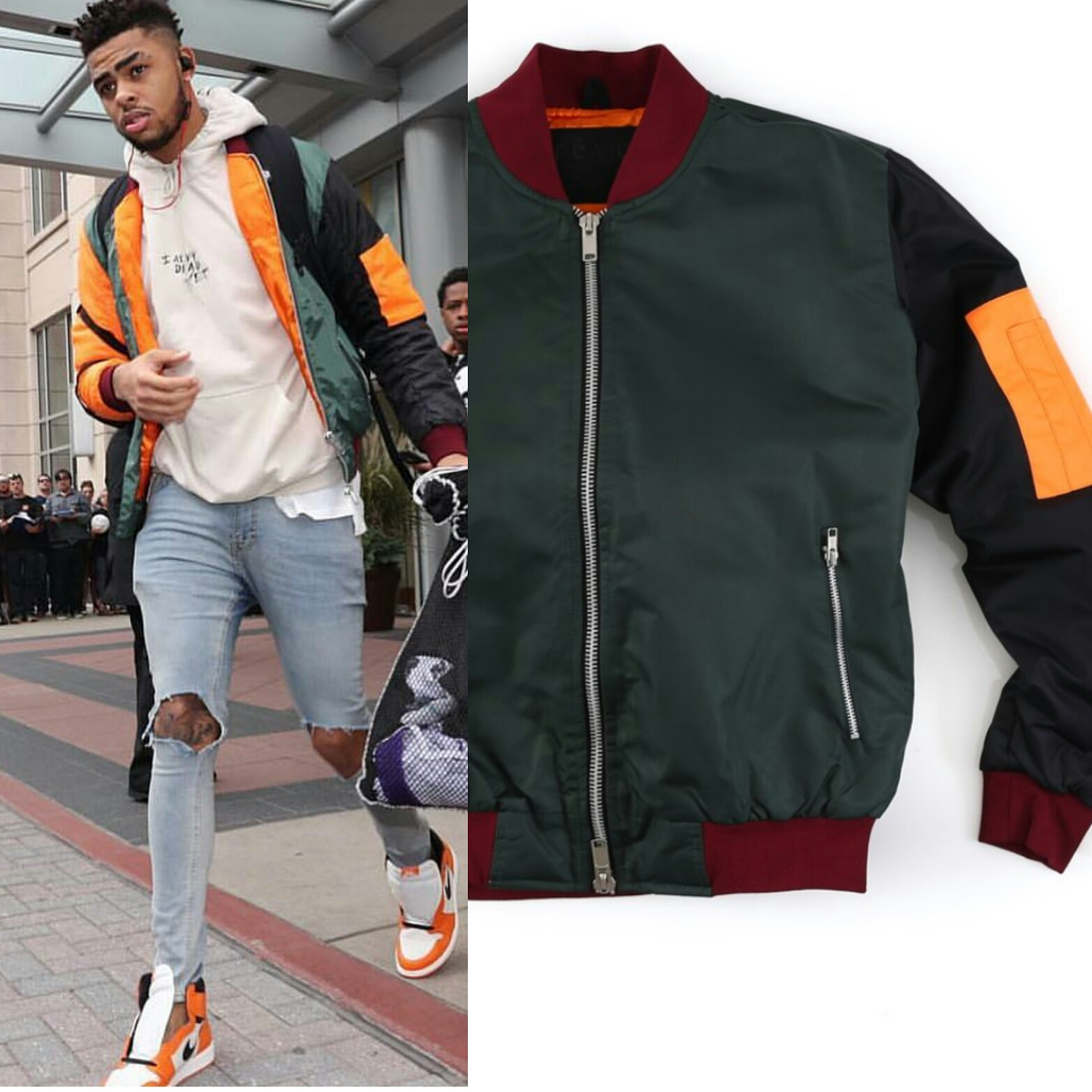 "STYLE: D'Angelo Russell's Instagram Reves Paris Multi-color ""Kayak""Bomber Jacket"