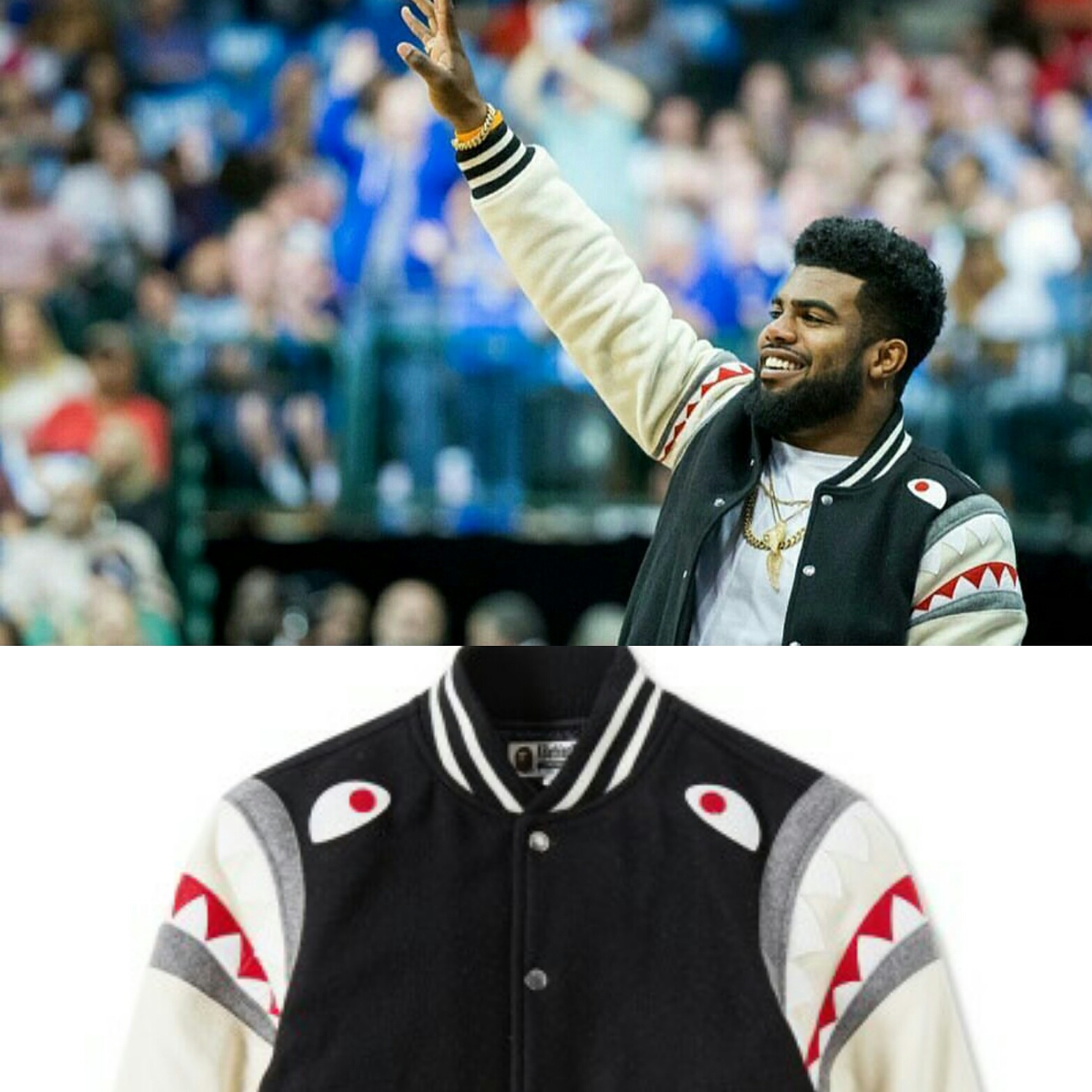 STYLE: Ezekiel Elliott's Instagram A Bathing Ape Bape Shark Shoulder Varsity Jacket