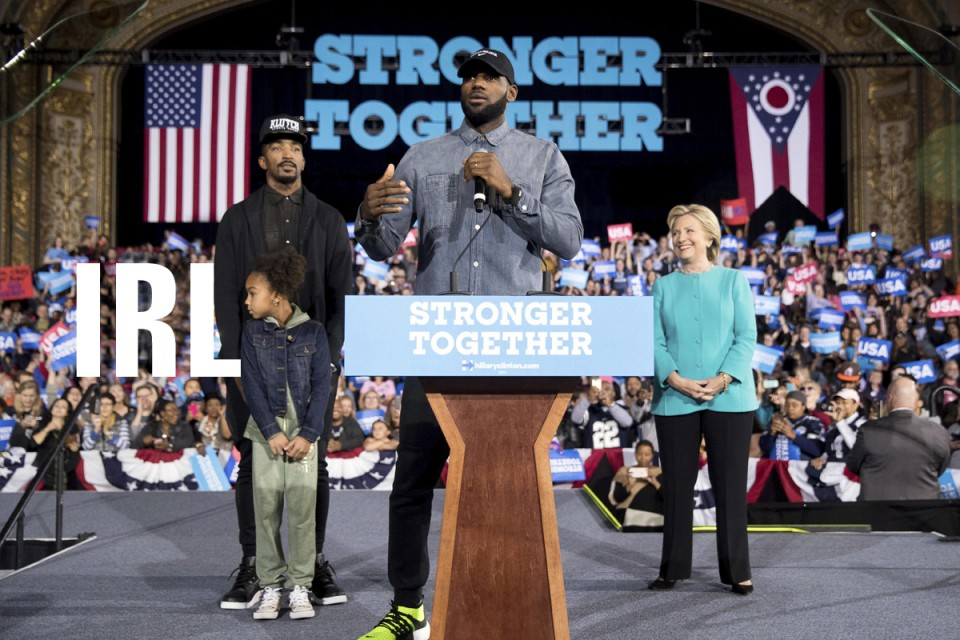 NBA Star Lebron James Supports Hillary Clinton At Cleveland Rally