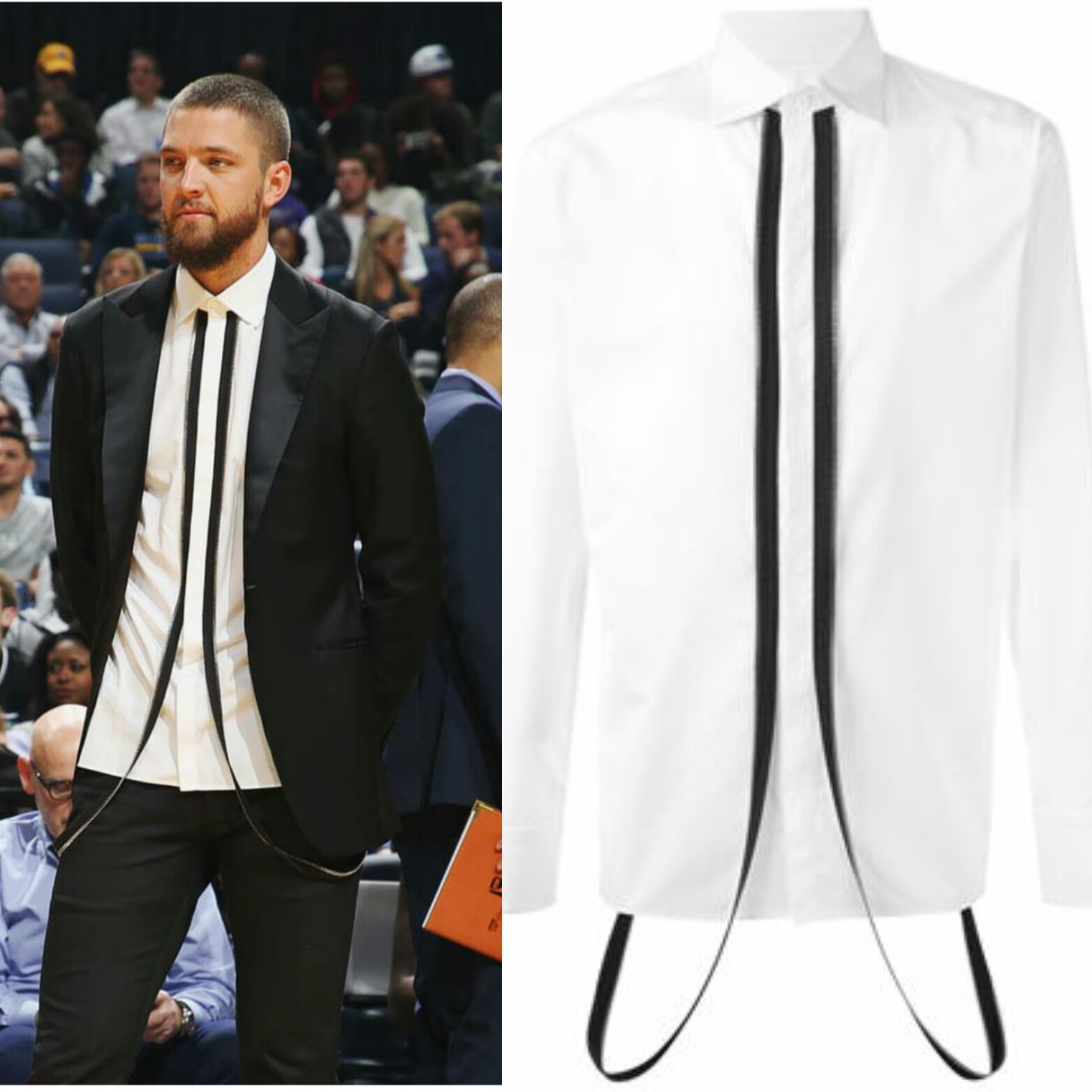 Chandler Parsons Wears Dsquared2 Zip Suspenders Mens Designer Shirt