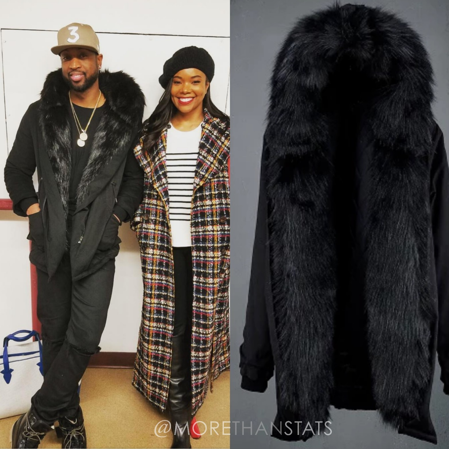 Dwyane Wade Gifted With A Press Play Co. Fur Hooded Mens Fashion Jacket