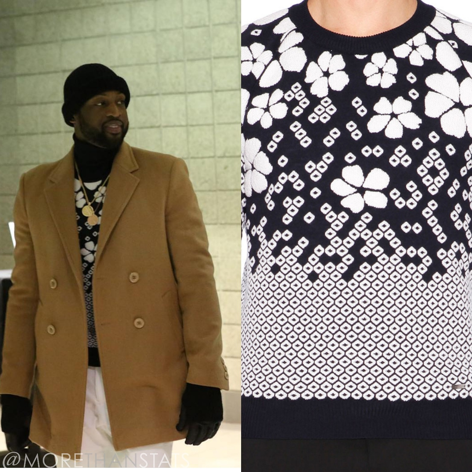 Dwyane Wade Men's Casual Fashion Dsquared Wool Blend Embroidered Floral Jumper