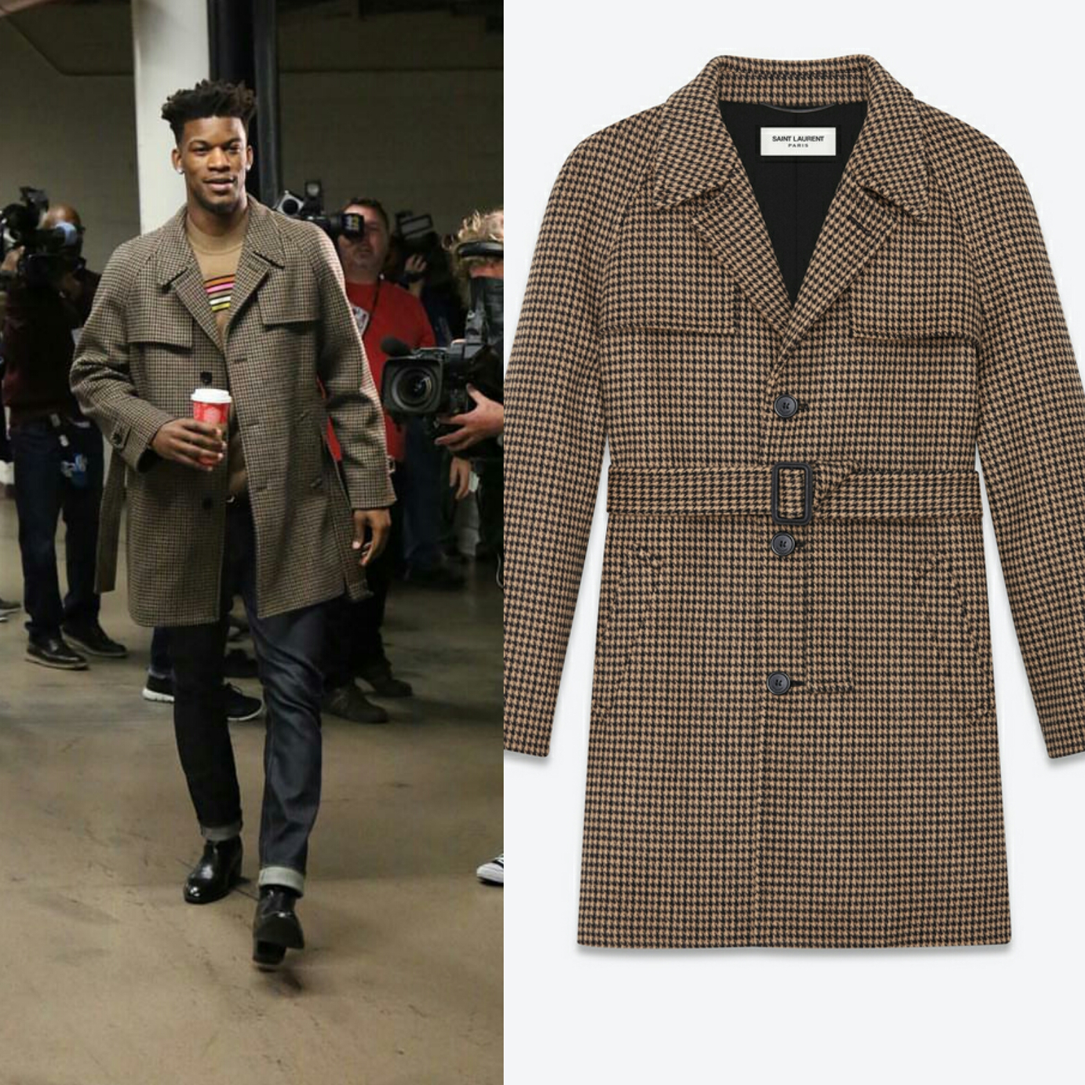 Jimmy Butler Wears Mens Wool Saint Laurent Houndstooth Belted Coat