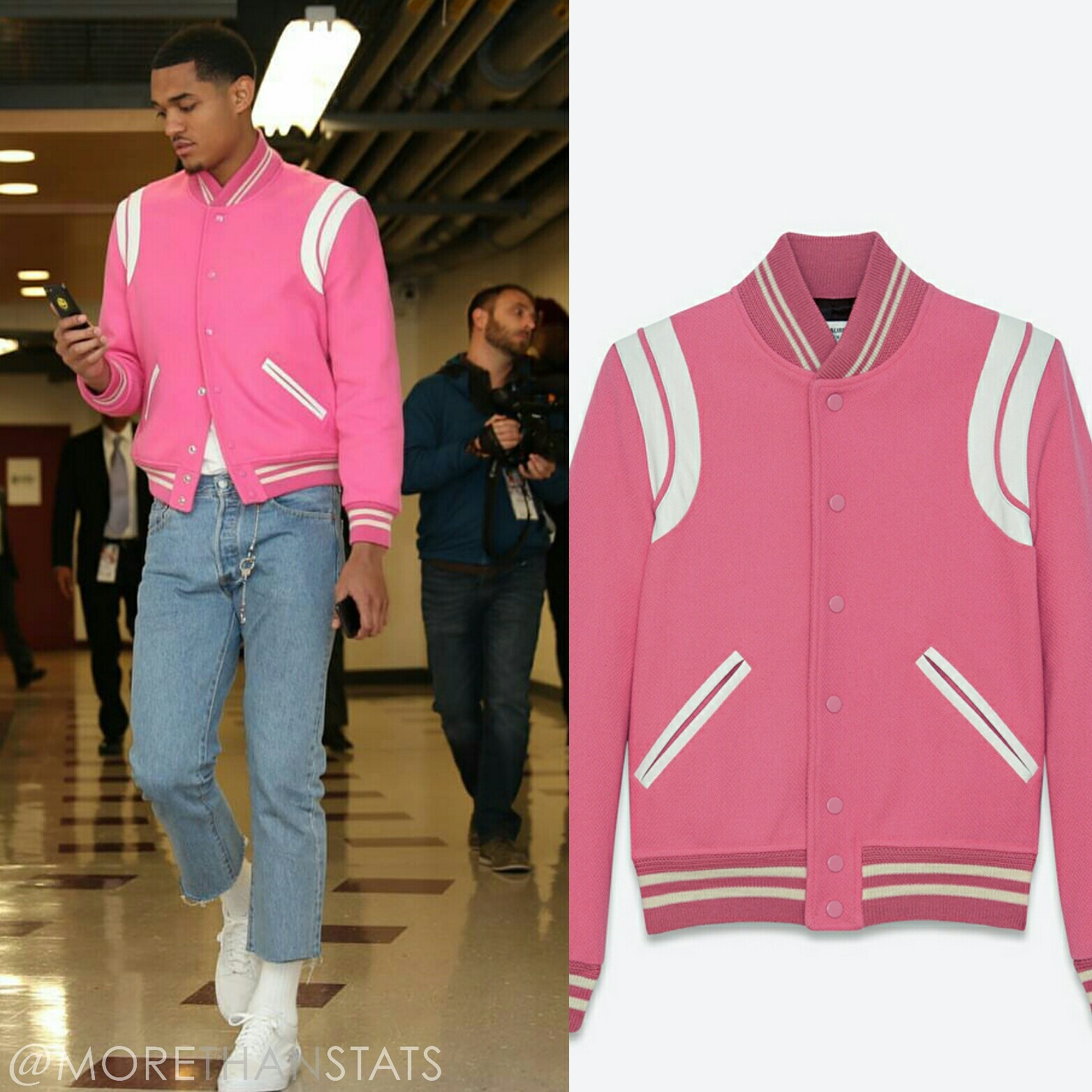 STYLE: NBA Jordan Clarkson Wears Saint Laurent Pink Varsity Jacket
